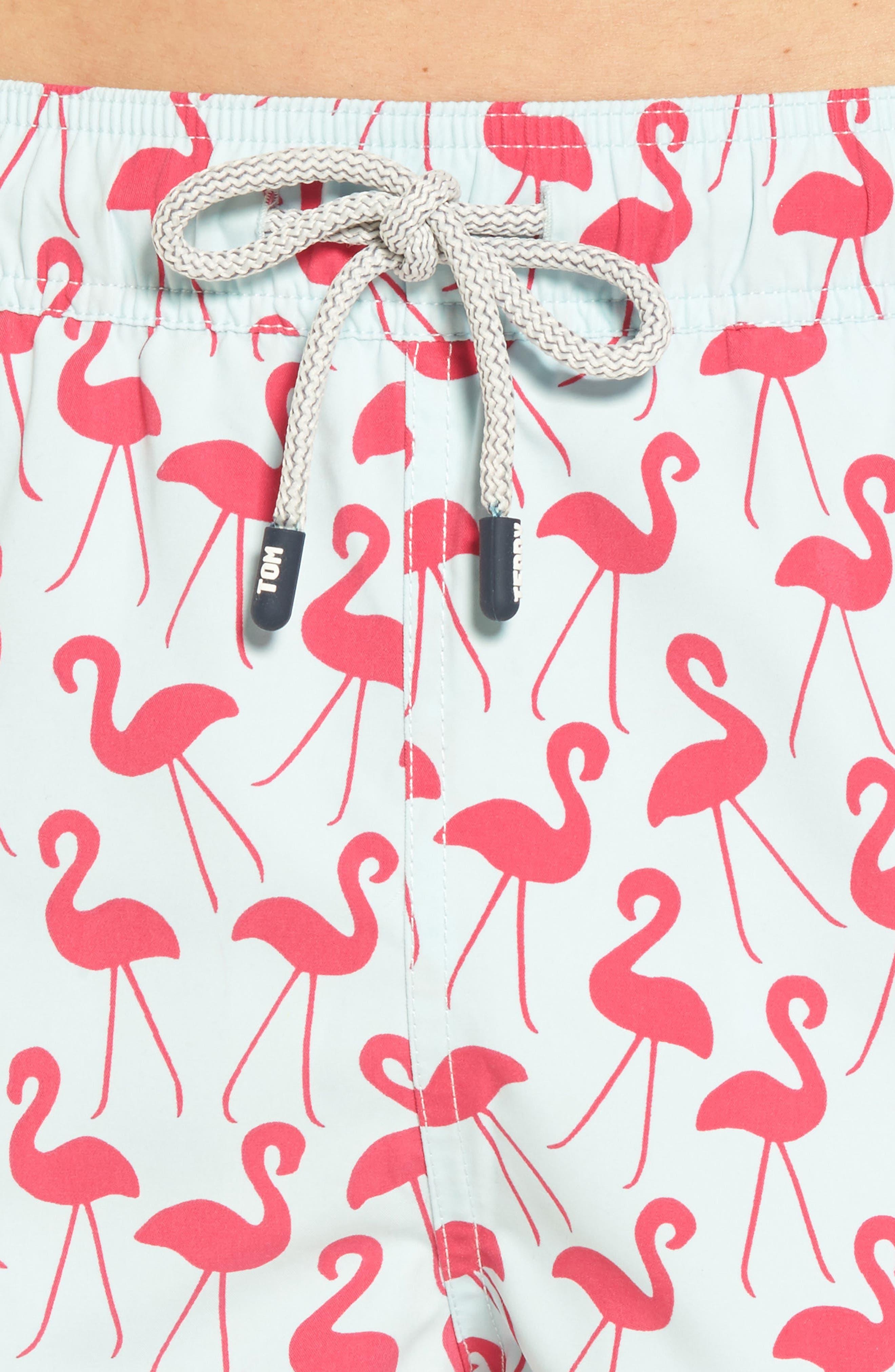 Flamingo Print Swim Trunks,                             Alternate thumbnail 4, color,                             Fuchsia
