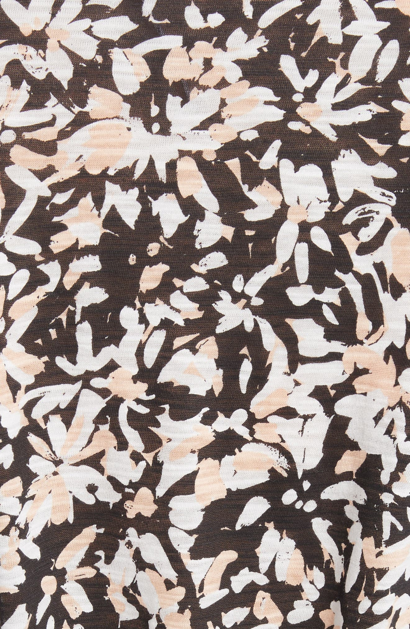 Band Detail Print Tissue Jersey Tee,                             Alternate thumbnail 5, color,                             Nude/ Black Painted Floral