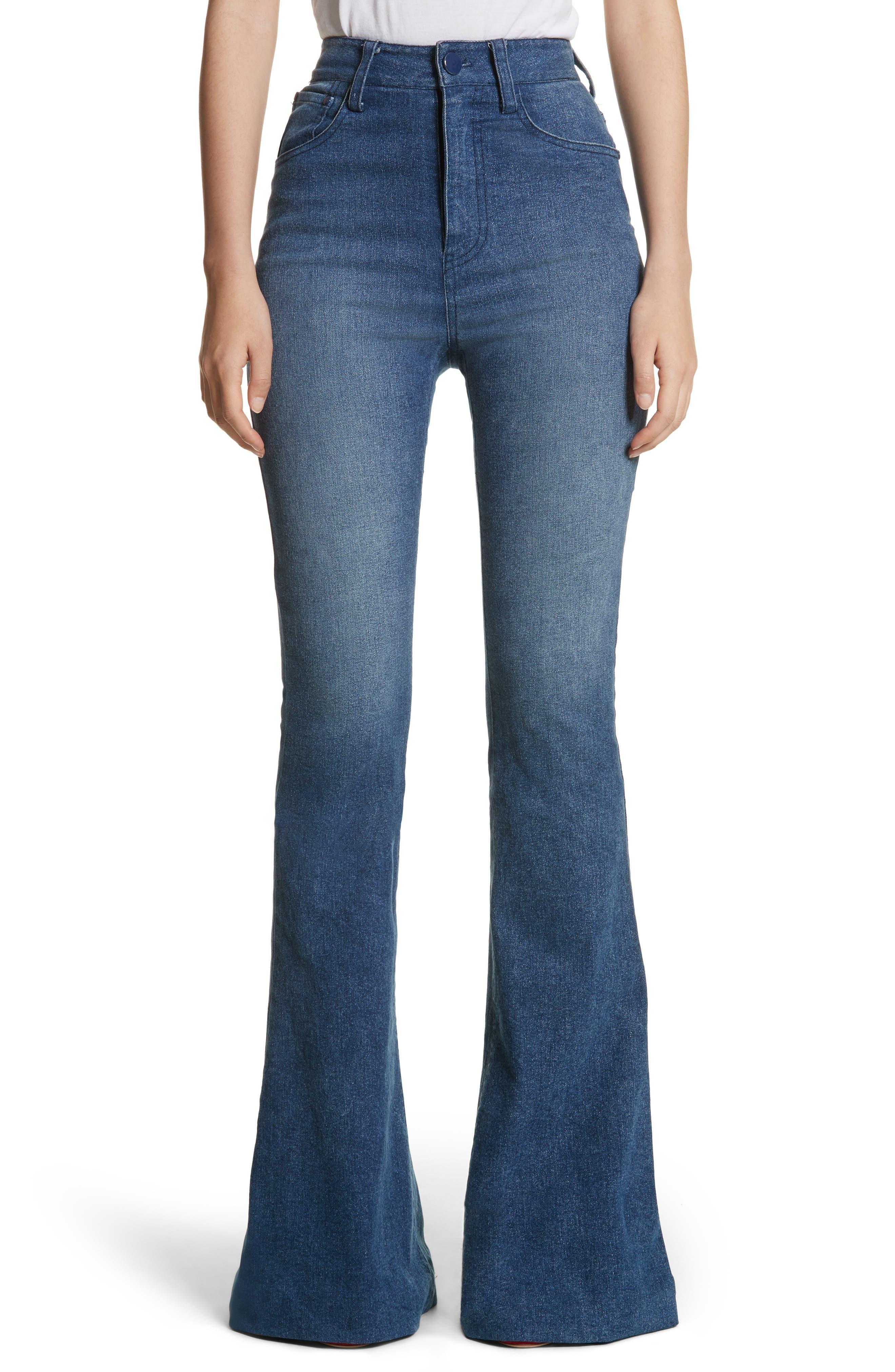 High Waist Bell Bottom Jeans,                             Main thumbnail 1, color,                             Denim