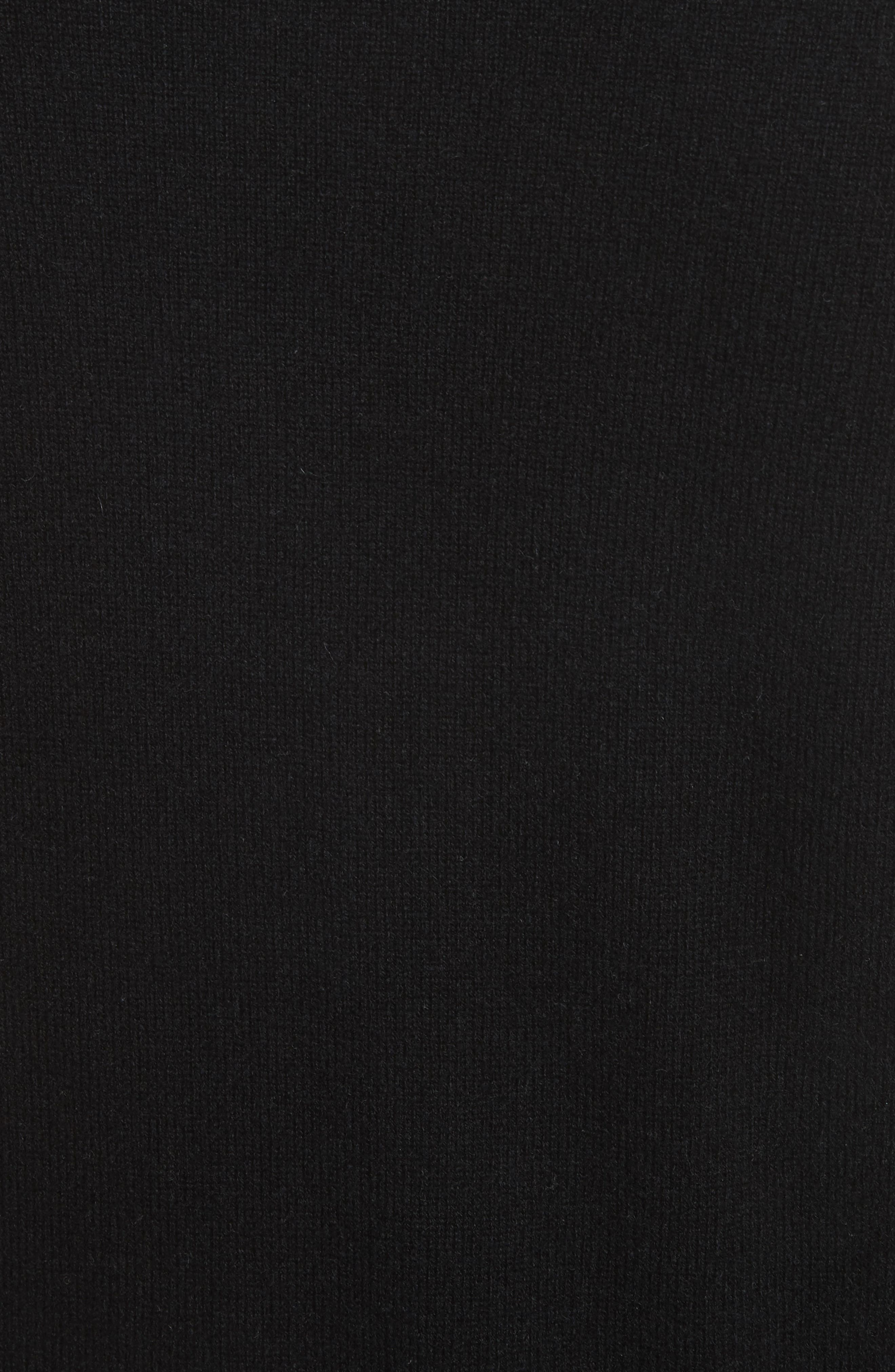 Zip Front Wool & Cashmere Blend Sweater,                             Alternate thumbnail 5, color,                             Black