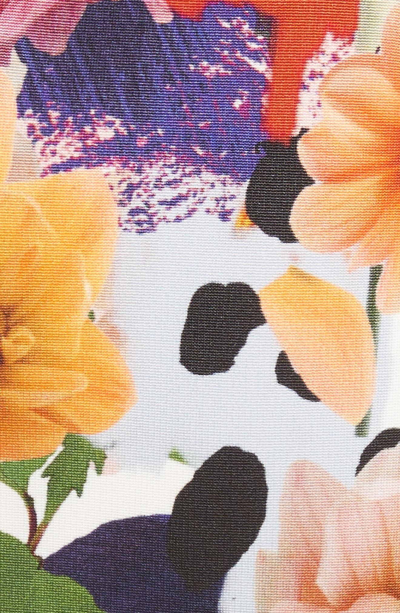 Floral Print Sheath Gown,                             Alternate thumbnail 5, color,                             Surrealist Floral