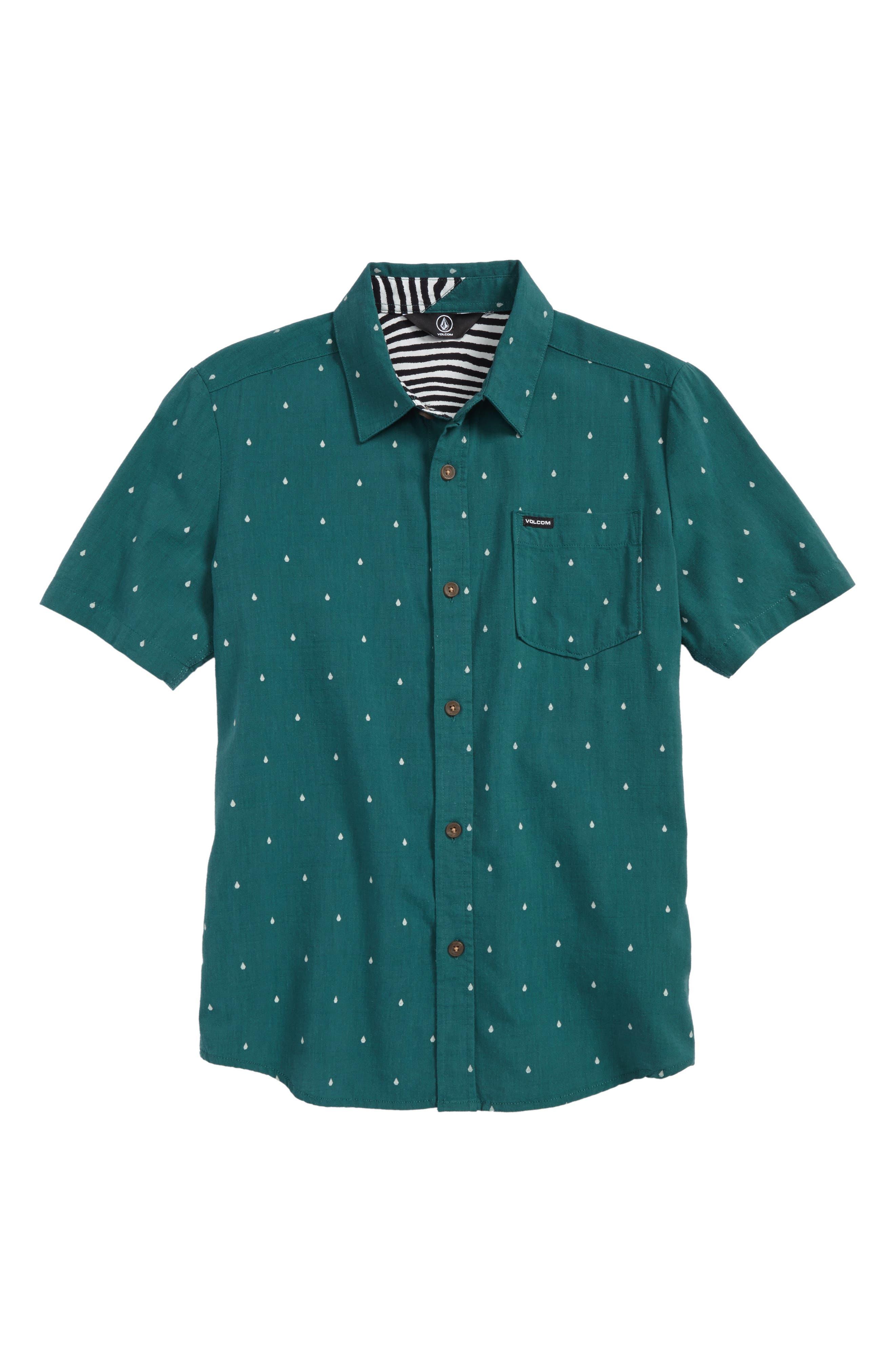 Stone Short Sleeve Woven Shirt,                             Main thumbnail 1, color,                             Green