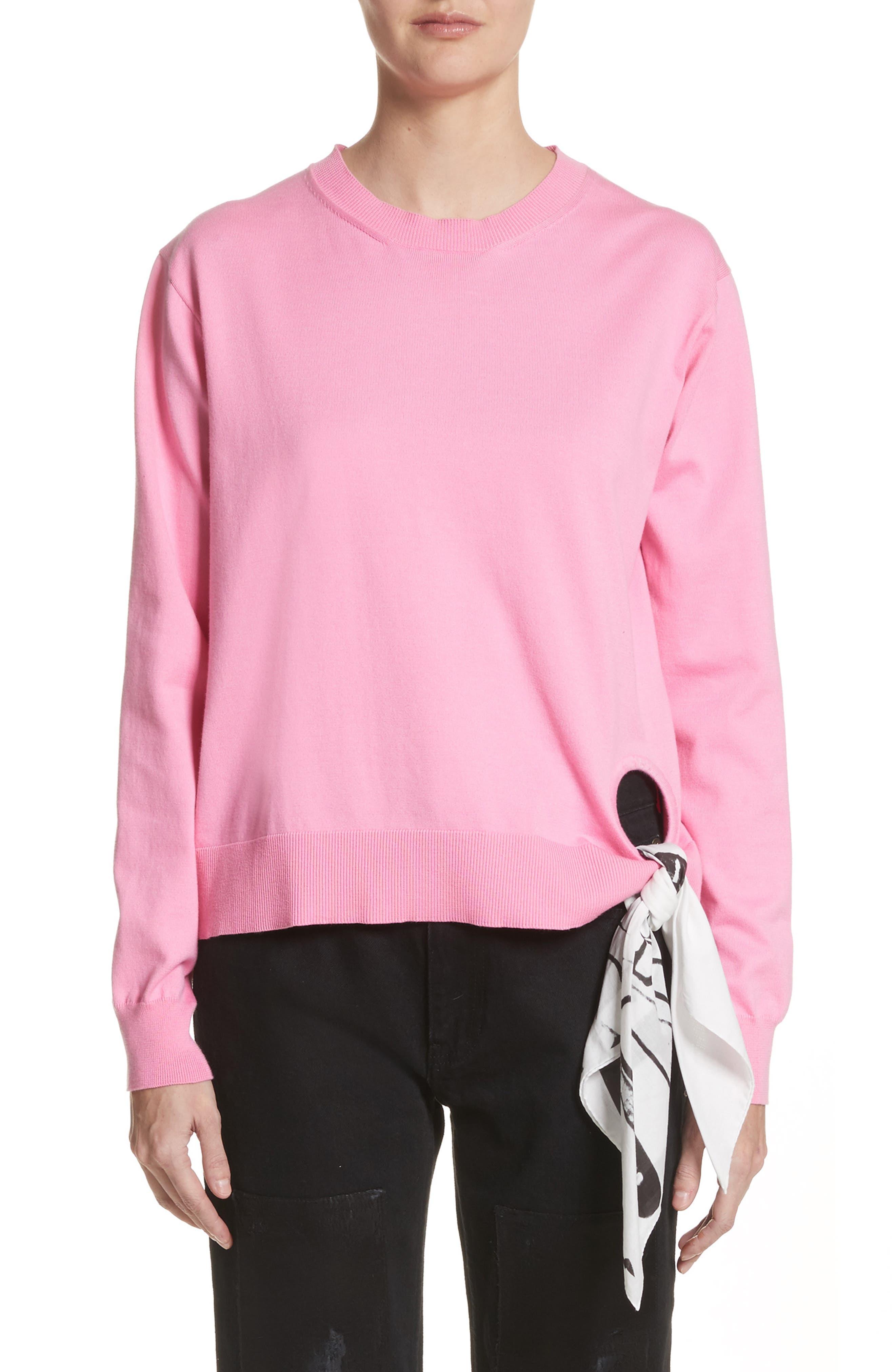 Scarf Hem Sweater,                         Main,                         color, Rose Bloom
