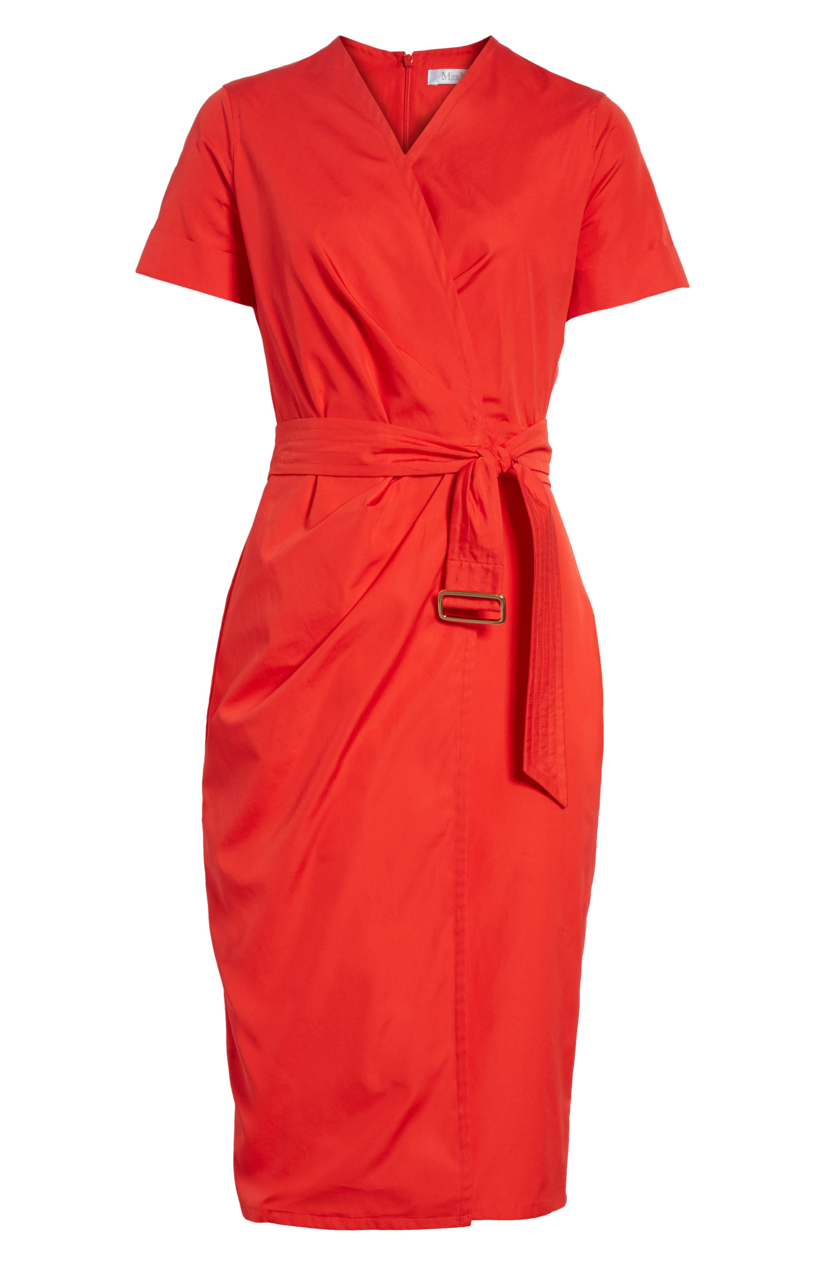 Dalmine Cotton Wrap Dress,                             Alternate thumbnail 6, color,                             Red