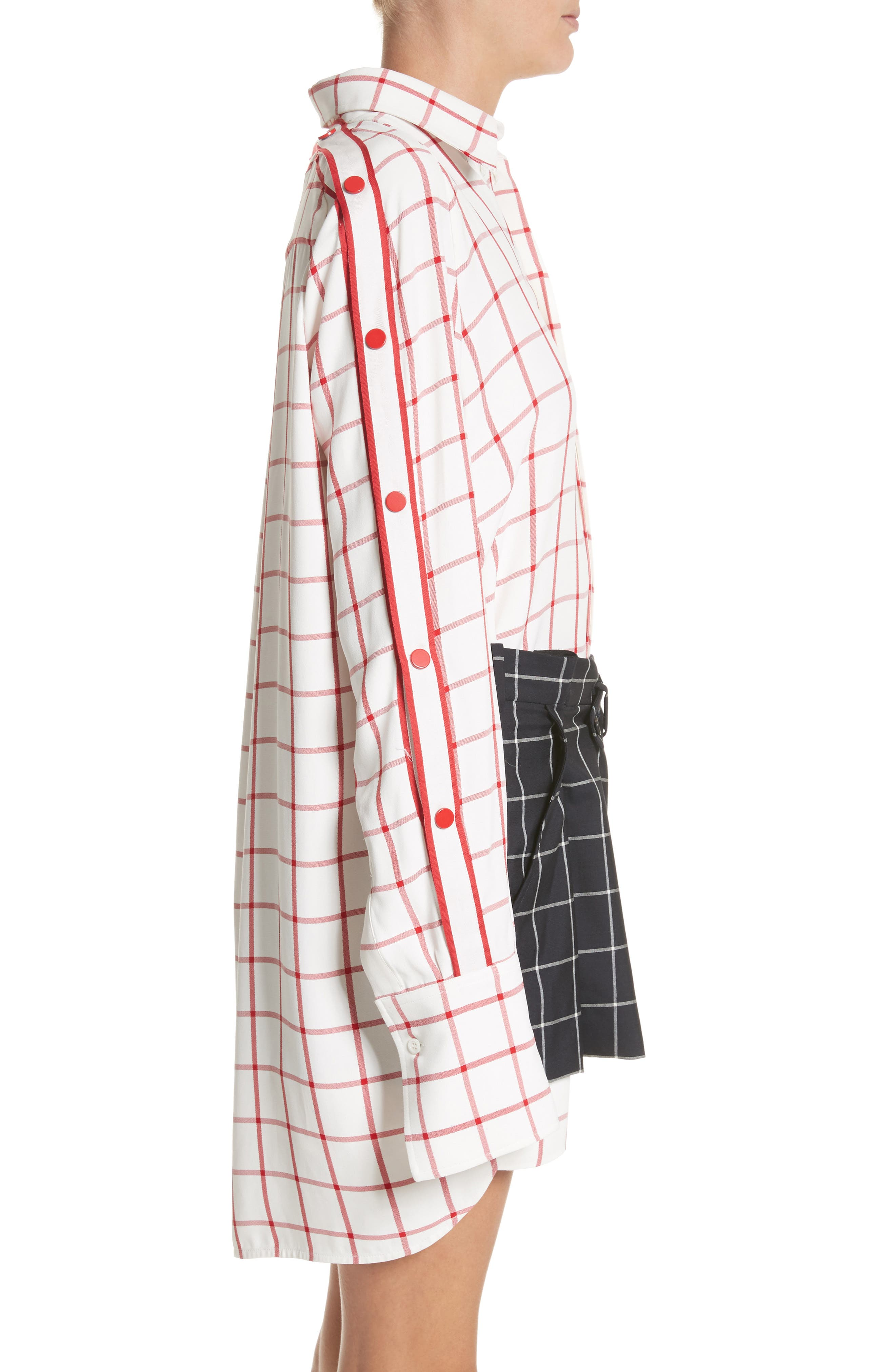 Windowpane Plaid Snap Sleeve Shirt,                             Alternate thumbnail 3, color,                             Ivory/ Red