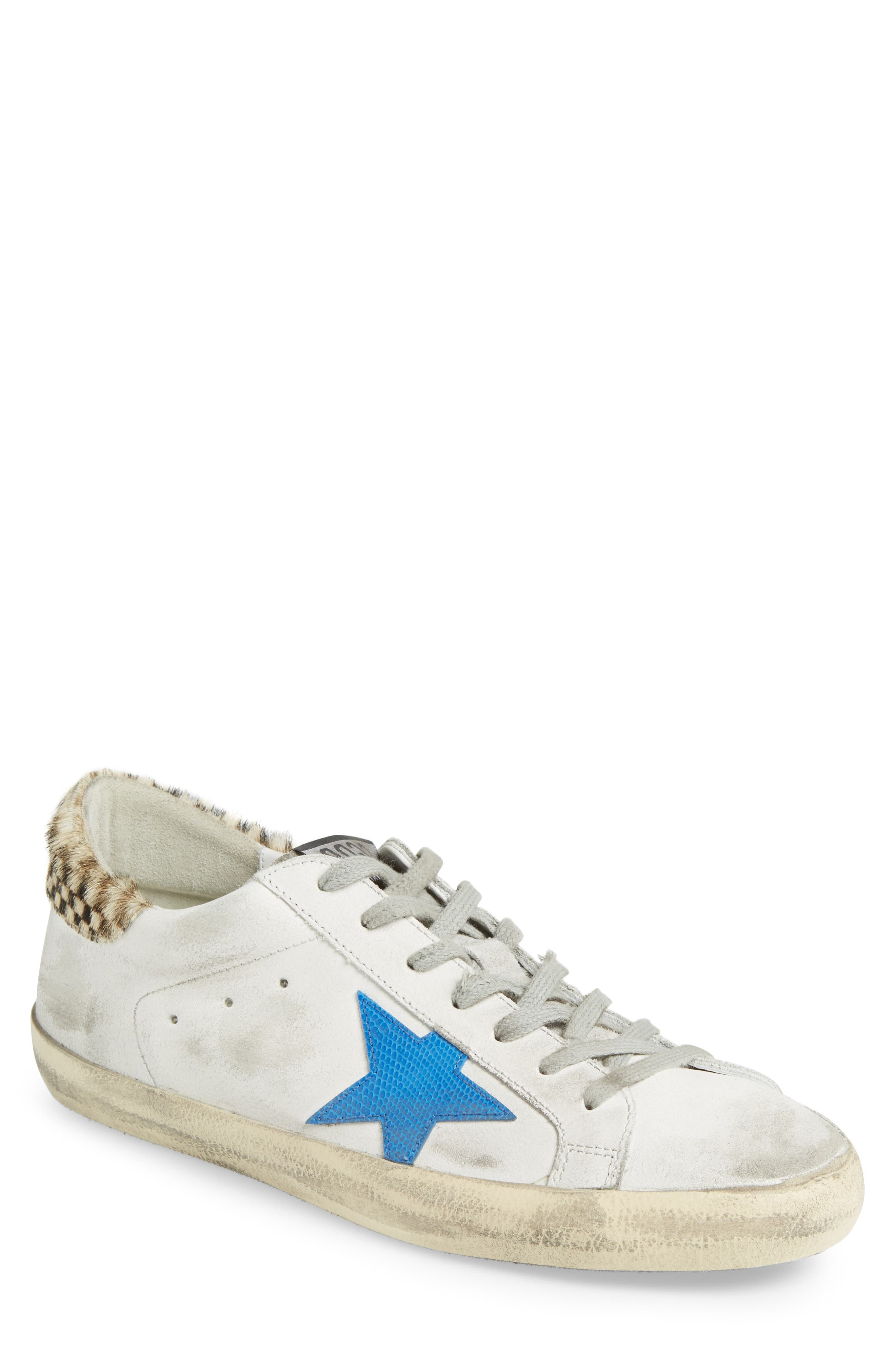 Superstar Sneaker with Genuine Calf Hair Trim,                         Main,                         color, White/ Check/ Lizard Print
