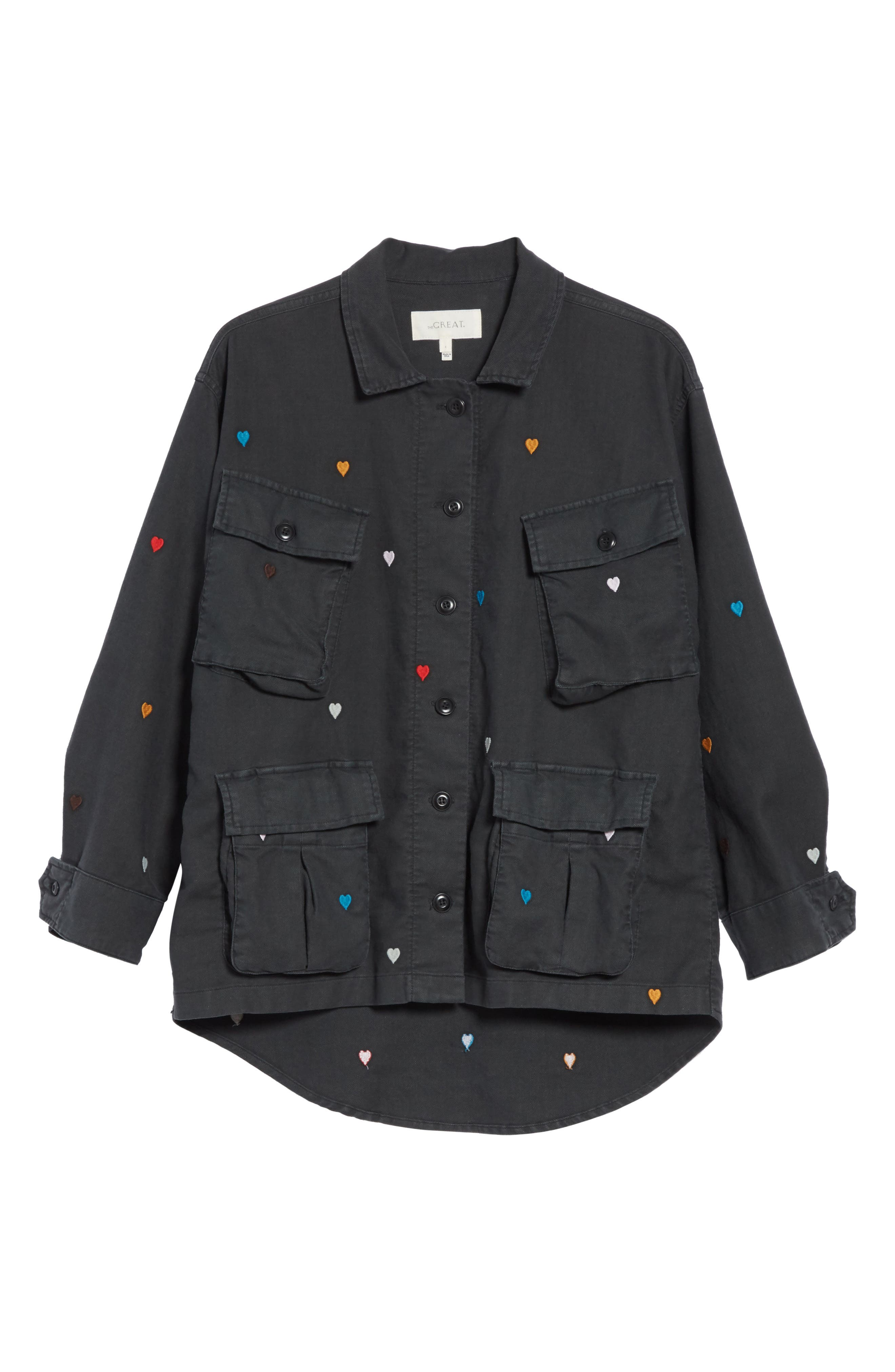 The Commander Embroidered Jacket,                             Alternate thumbnail 6, color,                             Black/ Heart Embroidery