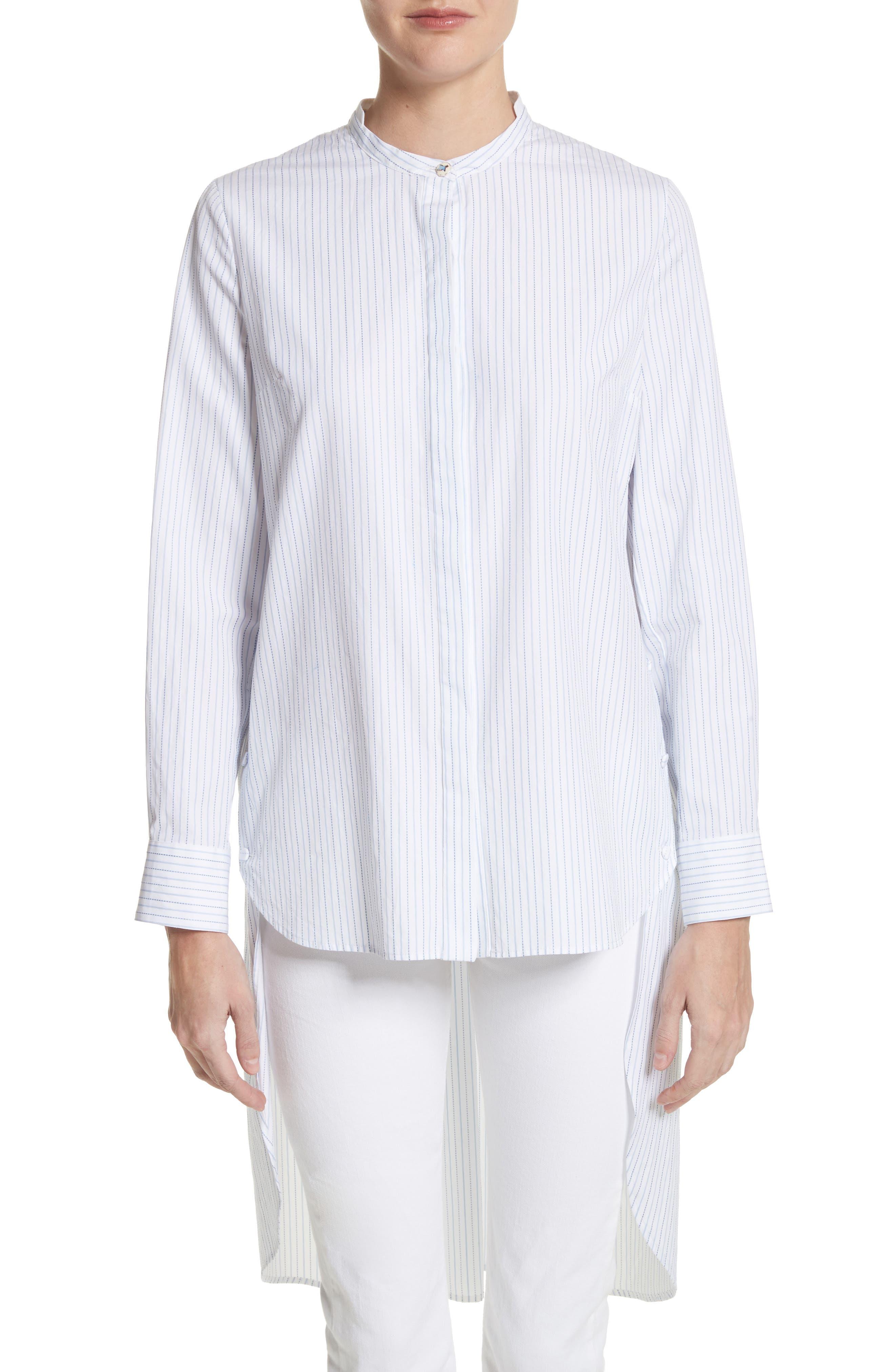High/Low Stripe Cotton Poplin Shirt,                         Main,                         color, White/ Blue
