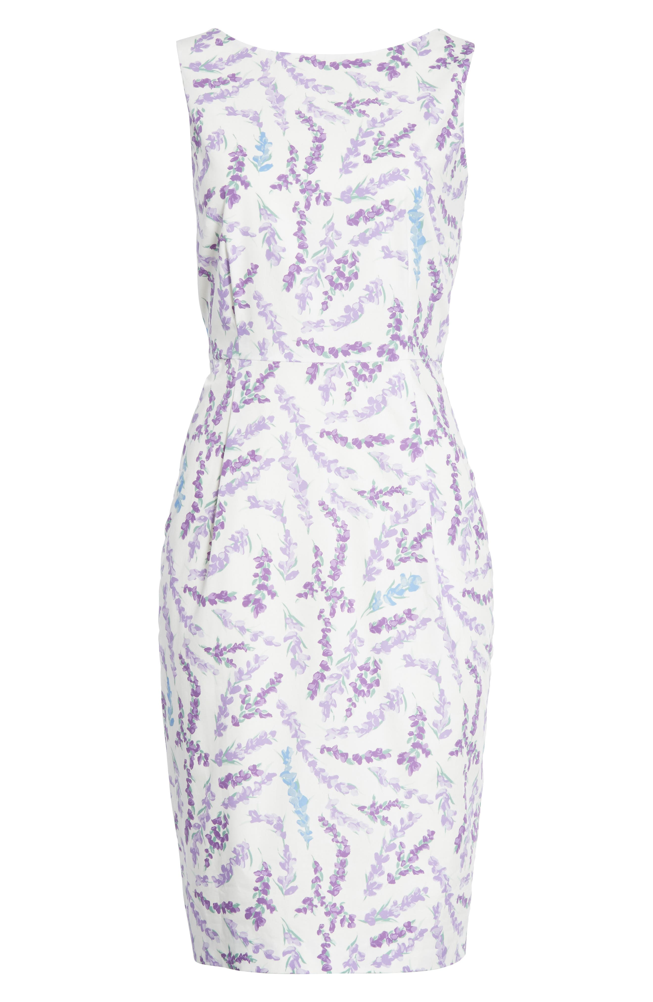 Melfi Print Cotton Sheath Dress,                             Alternate thumbnail 7, color,                             Lavender