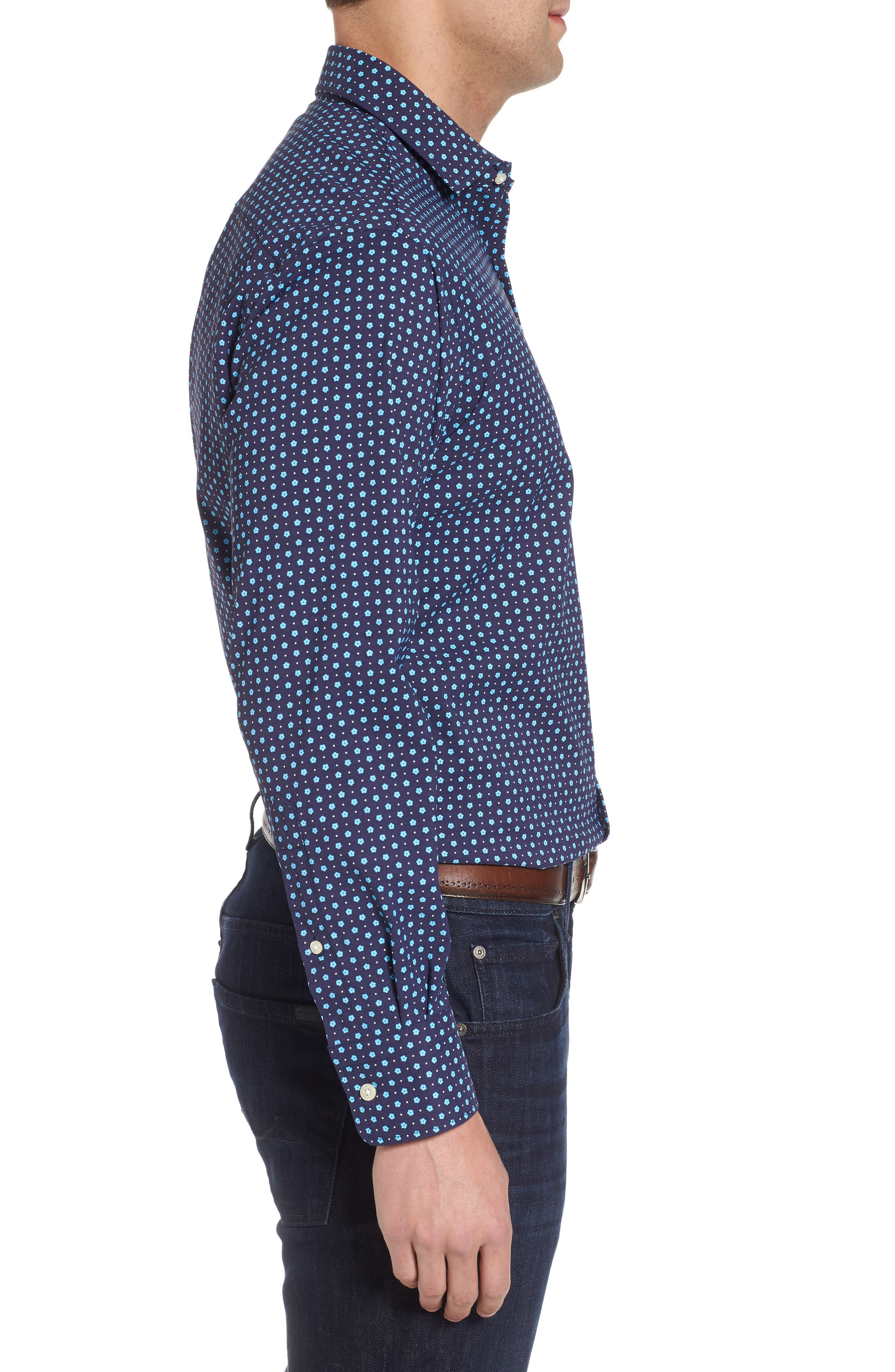 Jennings Regular Fit Floral Dot Performance Sport Shirt,                             Alternate thumbnail 3, color,                             Yankee Blue