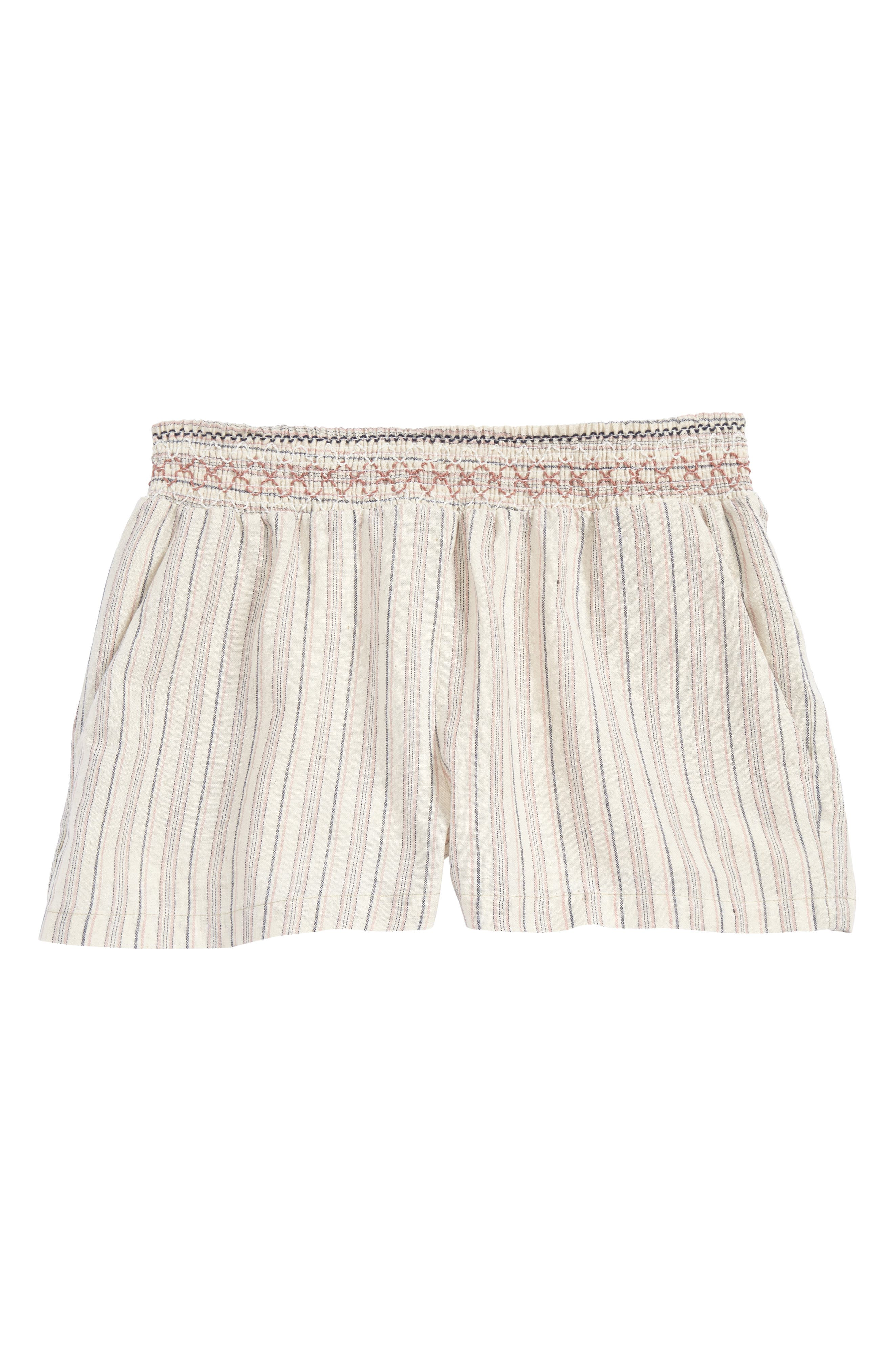 Alternate Image 1 Selected - For All Seasons Stripe Woven Shorts (Big Girls)
