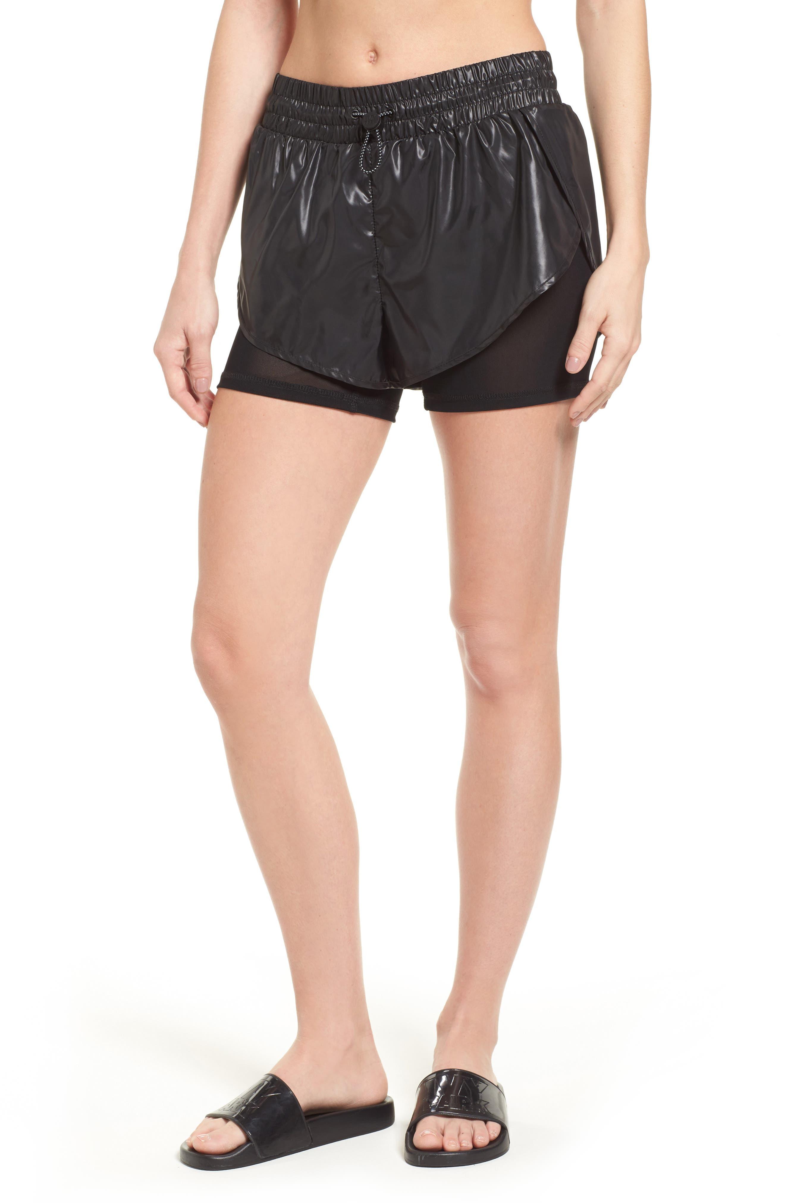 Hi Shine Double Layer Shorts,                             Main thumbnail 1, color,                             Black