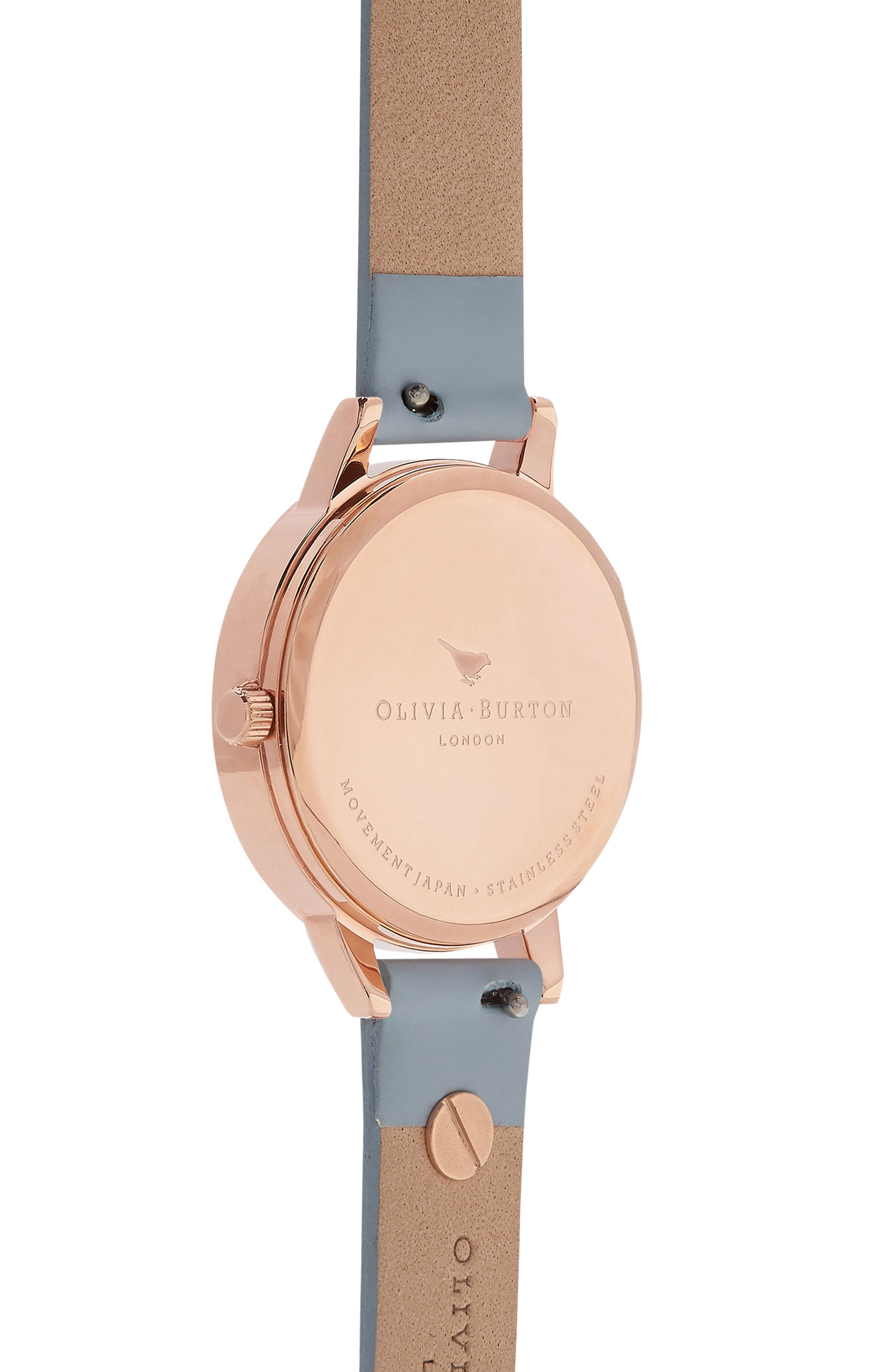 Pretty Blossom Leather Strap Watch, 30mm,                             Alternate thumbnail 2, color,                             Blue/ White / Rose Gold