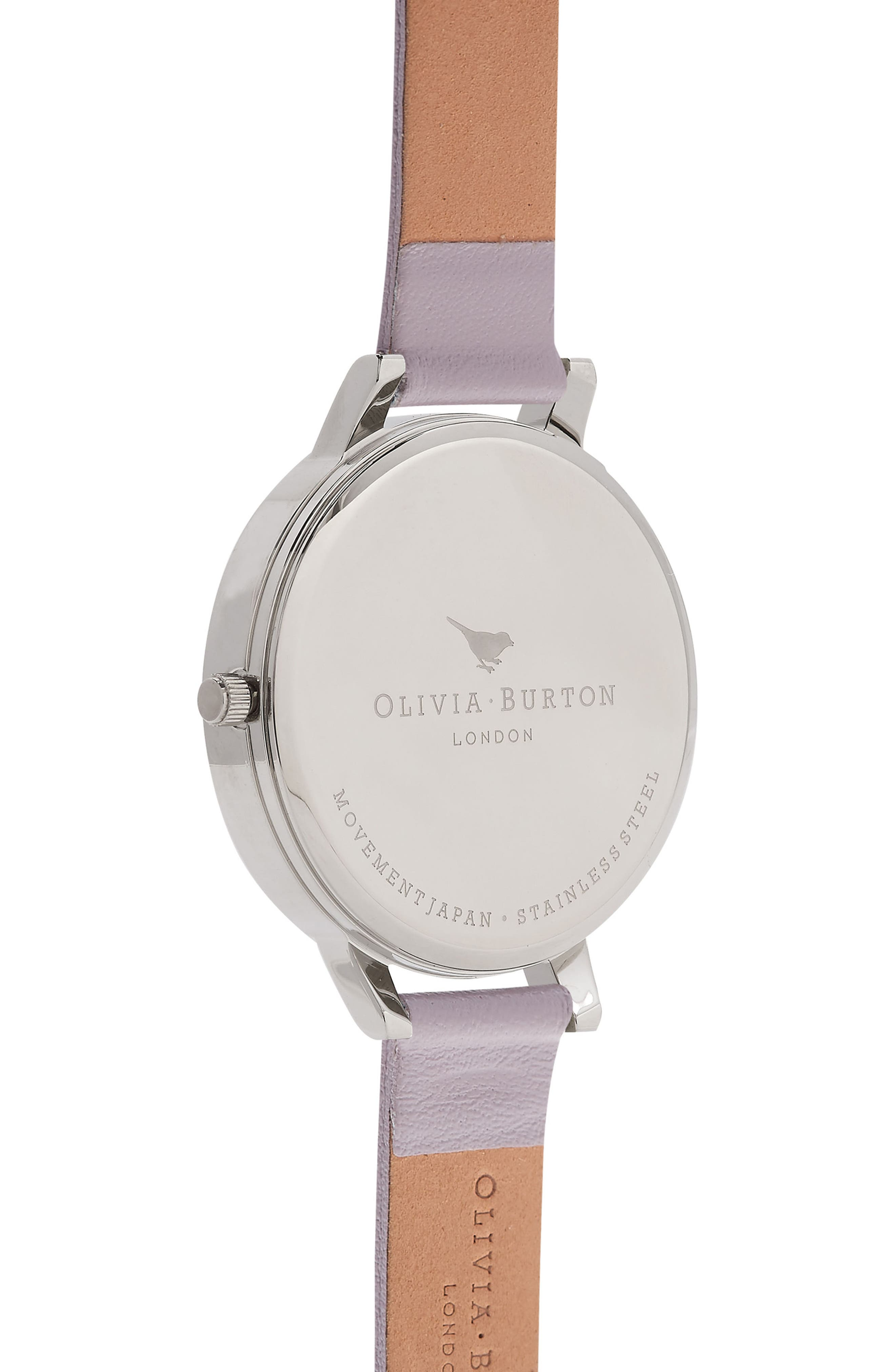 Painterly Prints Leather Strap Watch, 38mm,                             Alternate thumbnail 2, color,                             Grey Lilac/ White/ Silver