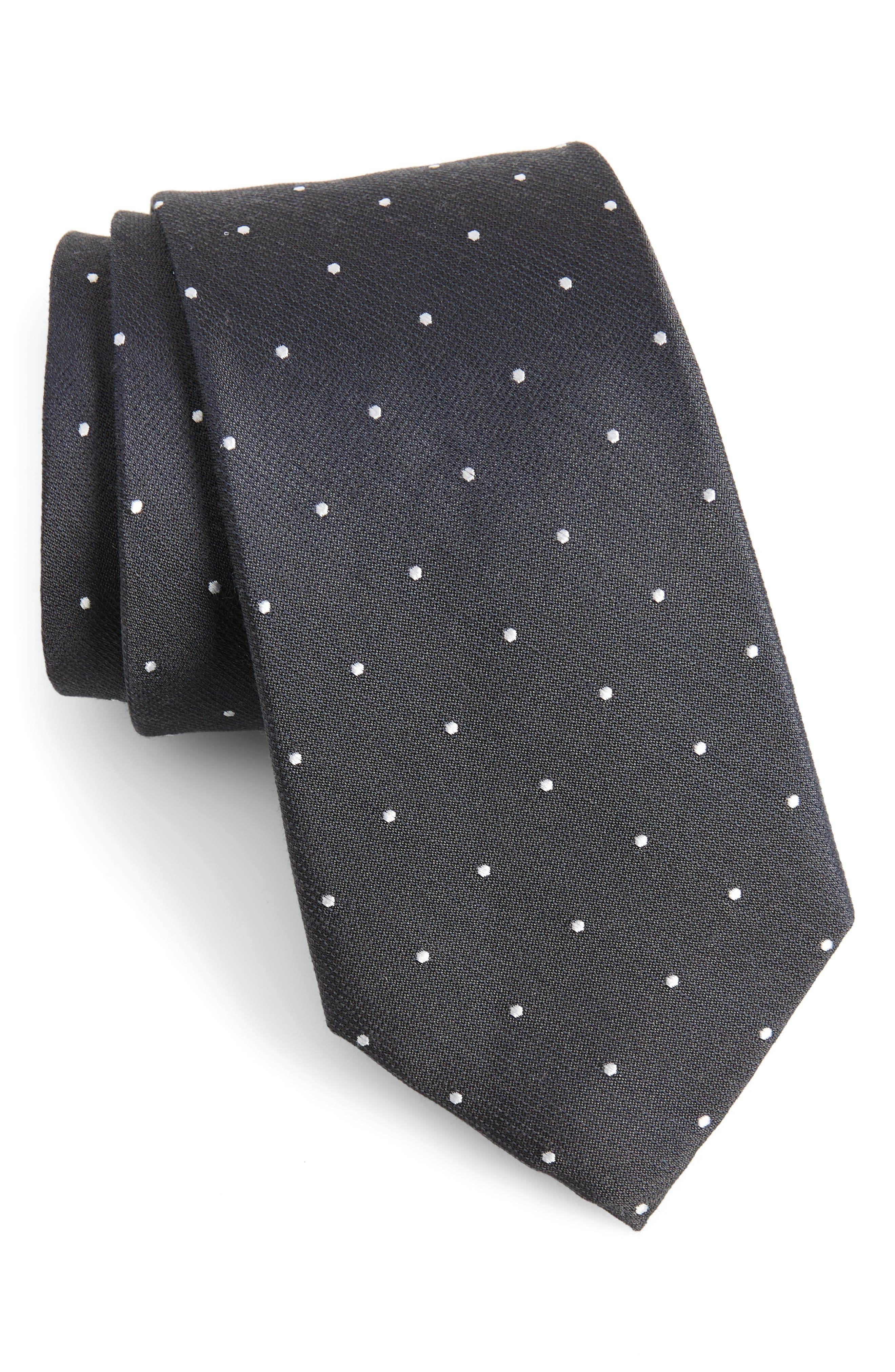 Dotted Report Silk & Wool Tie,                         Main,                         color, Charcoal