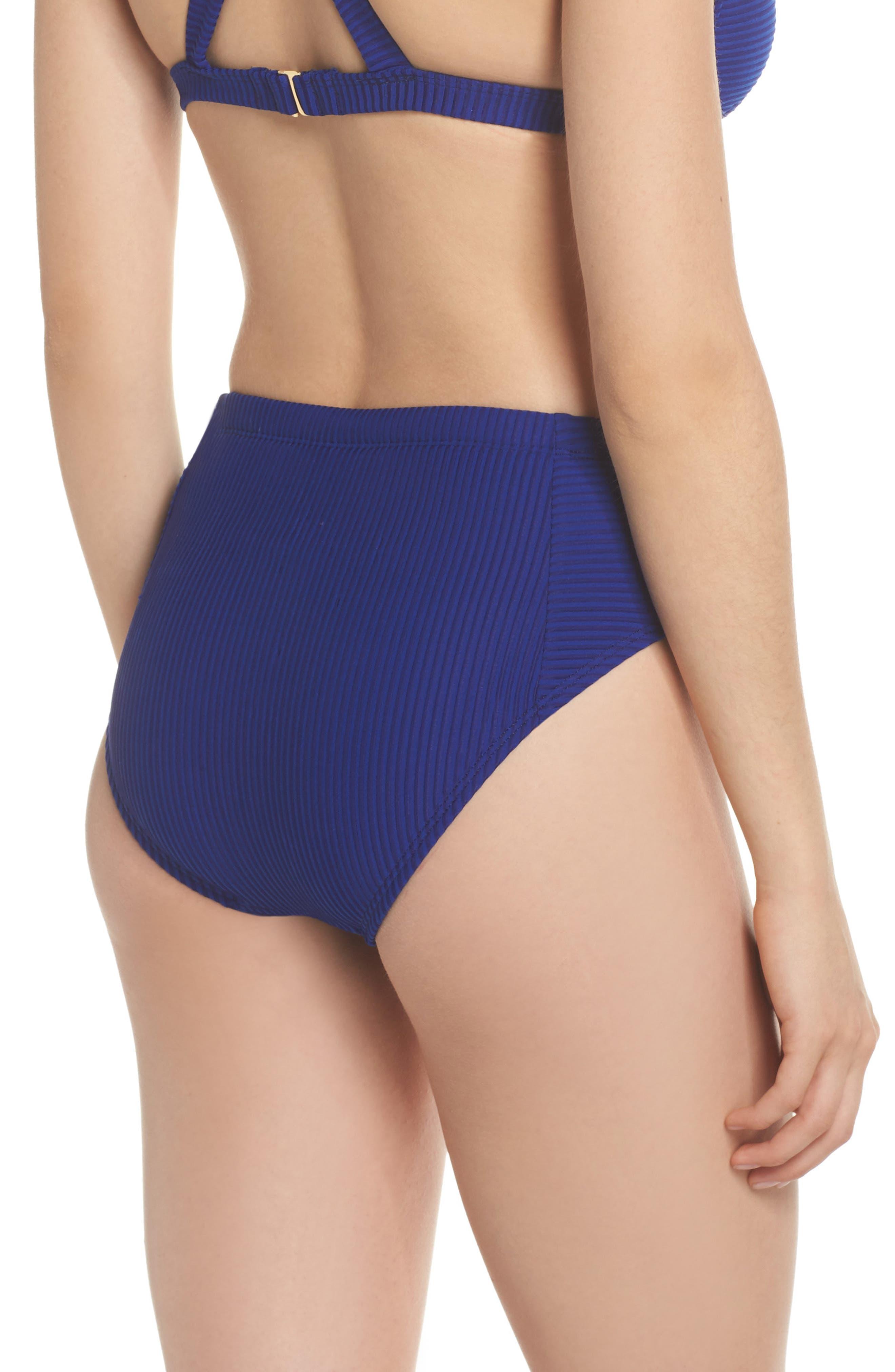 Becca High Waist Bikini Bottoms,                             Alternate thumbnail 2, color,                             Apollo Blue