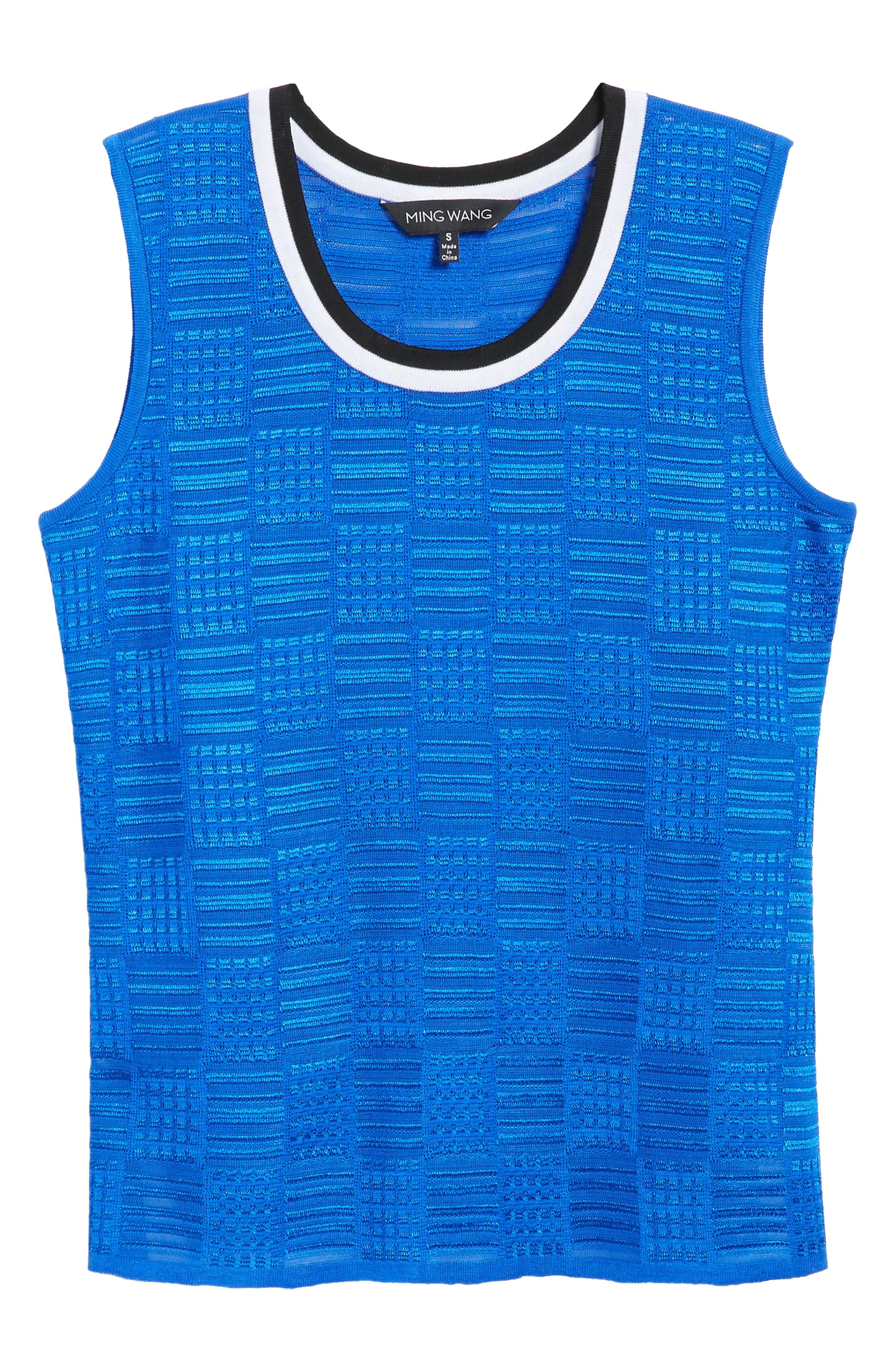 Contrast Neck Basket Weave Tank,                             Alternate thumbnail 6, color,                             Patriot Blue/ Black/ White