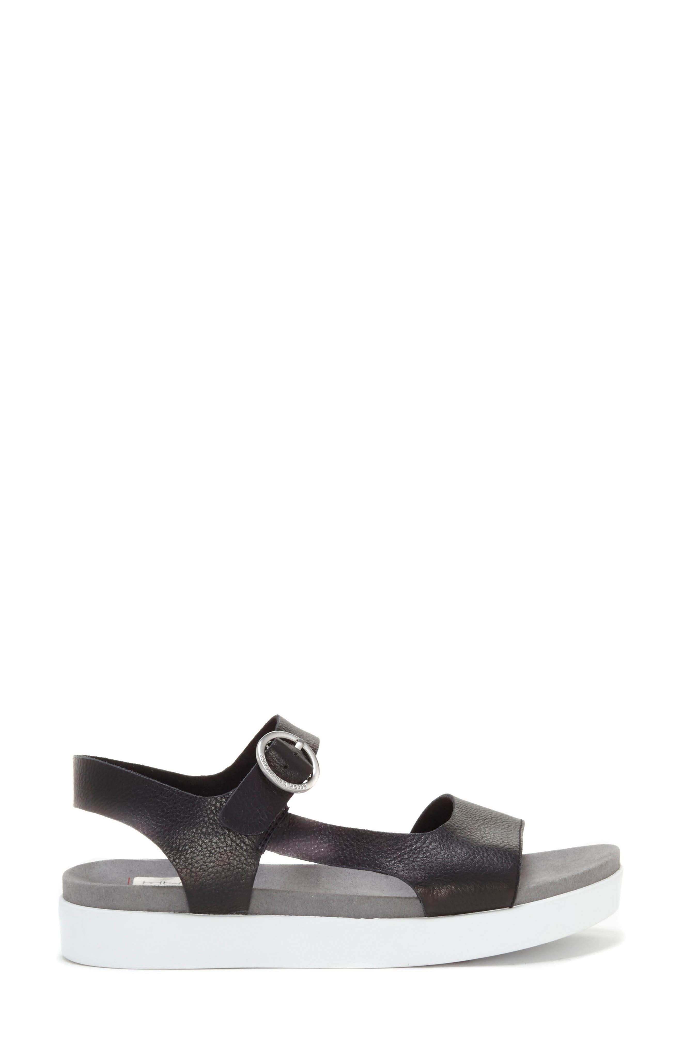 Caspin Sandal,                             Alternate thumbnail 4, color,                             Black Leather