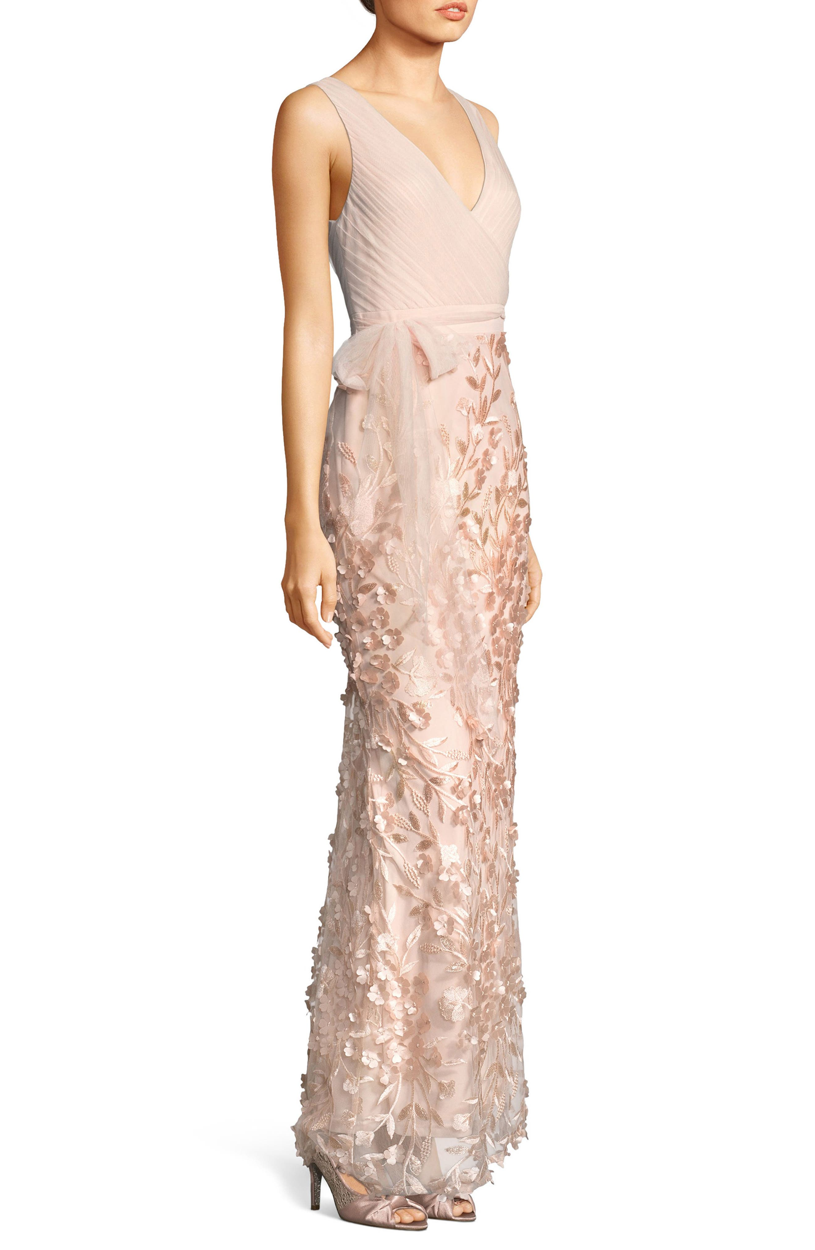 Petal Embellished Tulle Gown,                             Alternate thumbnail 3, color,                             Blush
