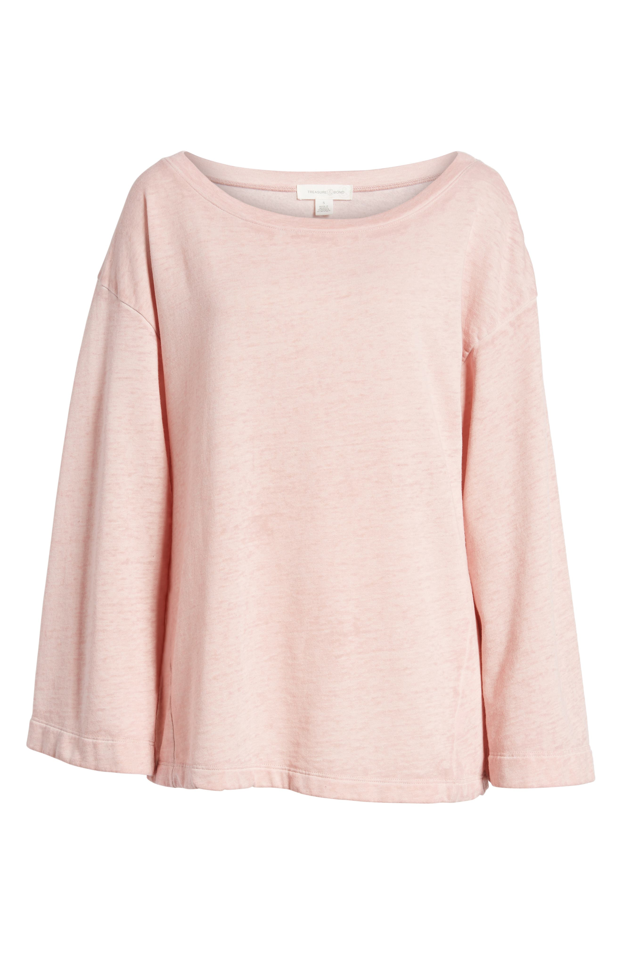 Bell Sleeve Sweatshirt,                             Alternate thumbnail 3, color,                             Pink Silver