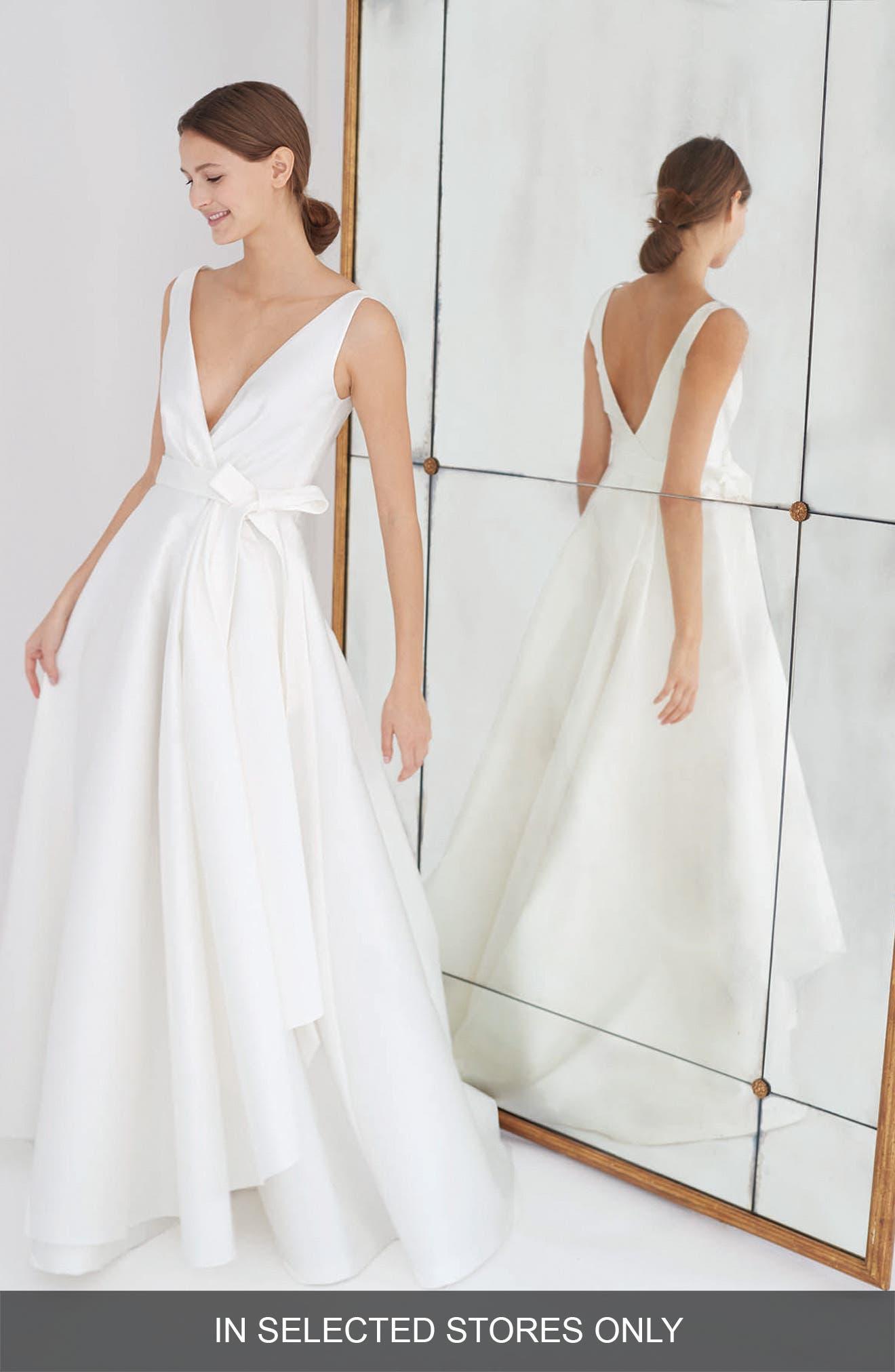 Gardenia Mikado Side Drape Gown,                             Main thumbnail 1, color,                             Silk White