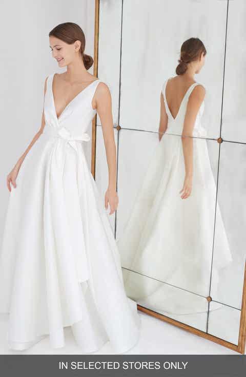 Carolina Herrera Gardenia Mikado Side Drape Gown