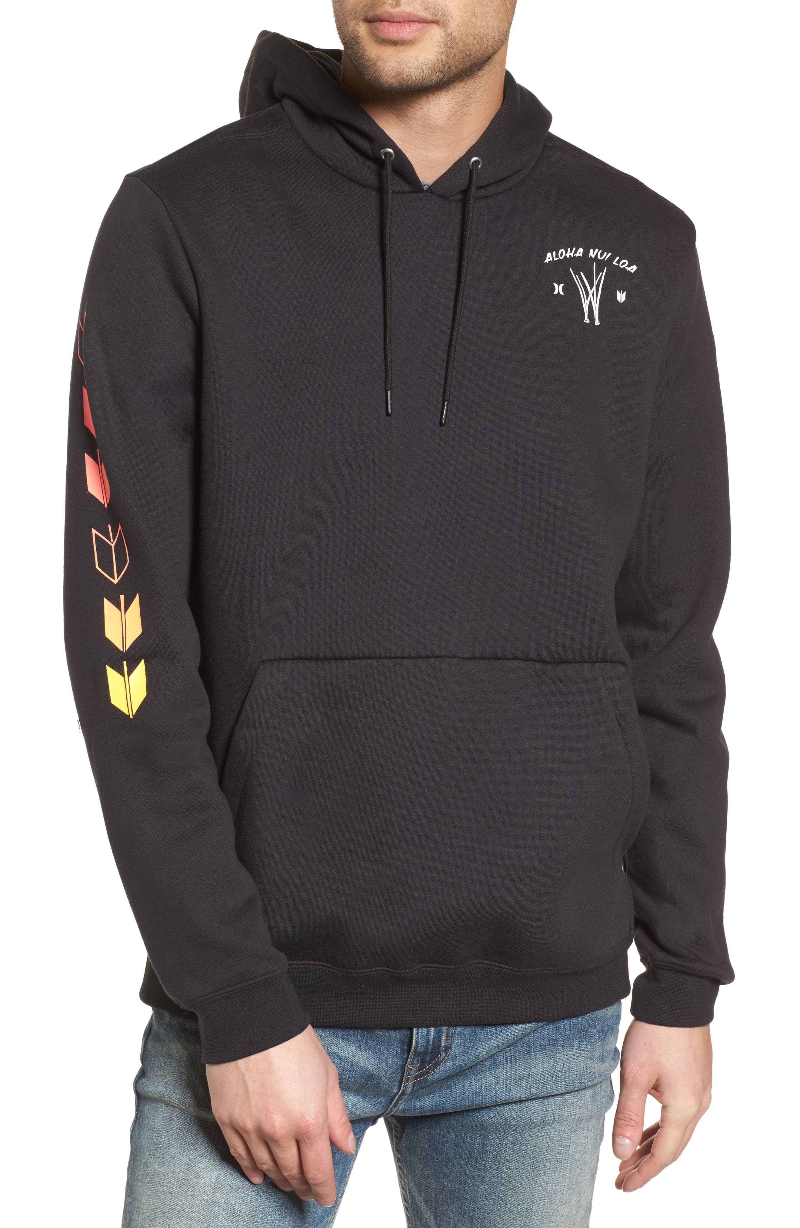 Surf Check Sig Zane Pullover Hoodie,                         Main,                         color, Black