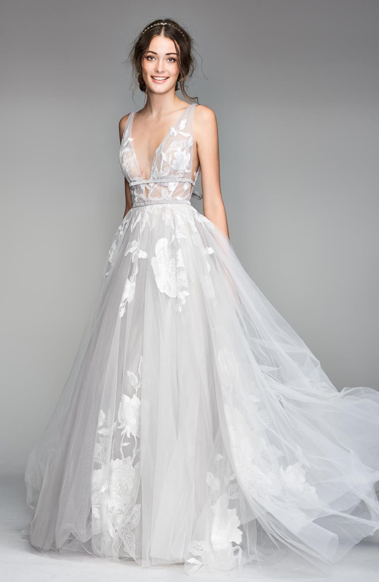 Galatea Embroidered Tulle Ballgown,                         Main,                         color, Titanium