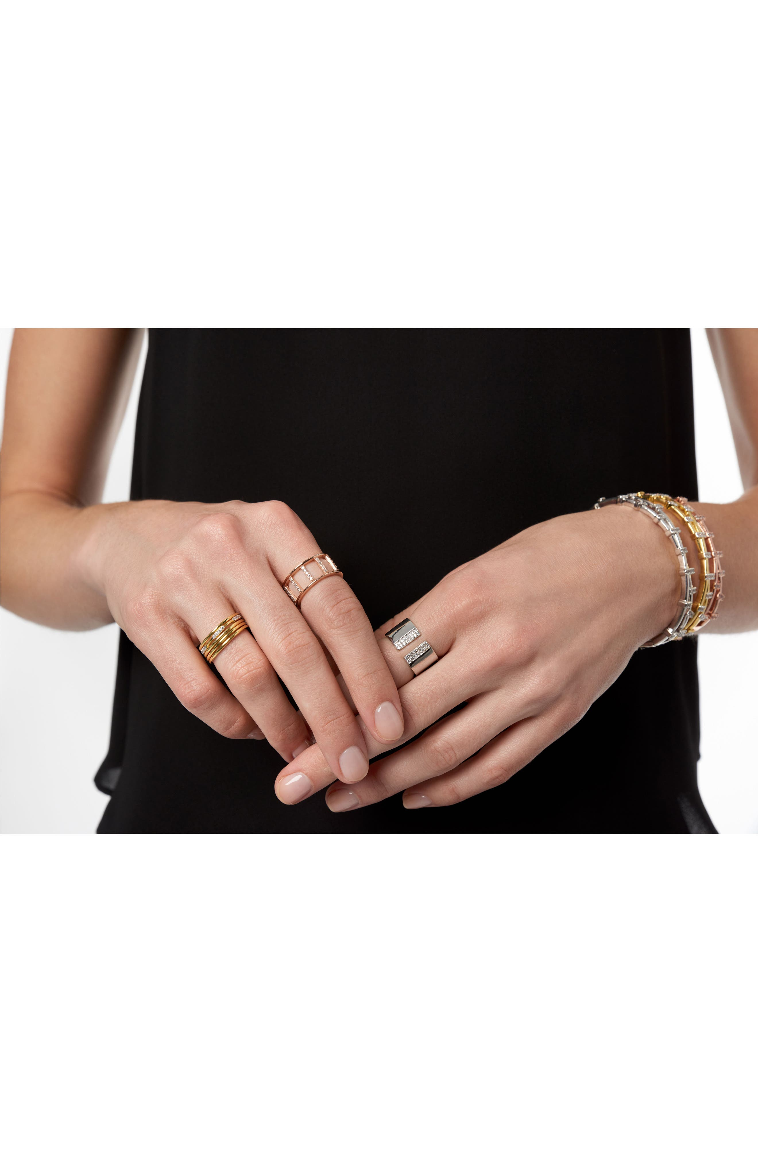 Radiance Stacking Ring,                             Alternate thumbnail 2, color,                             Silver/ Gold