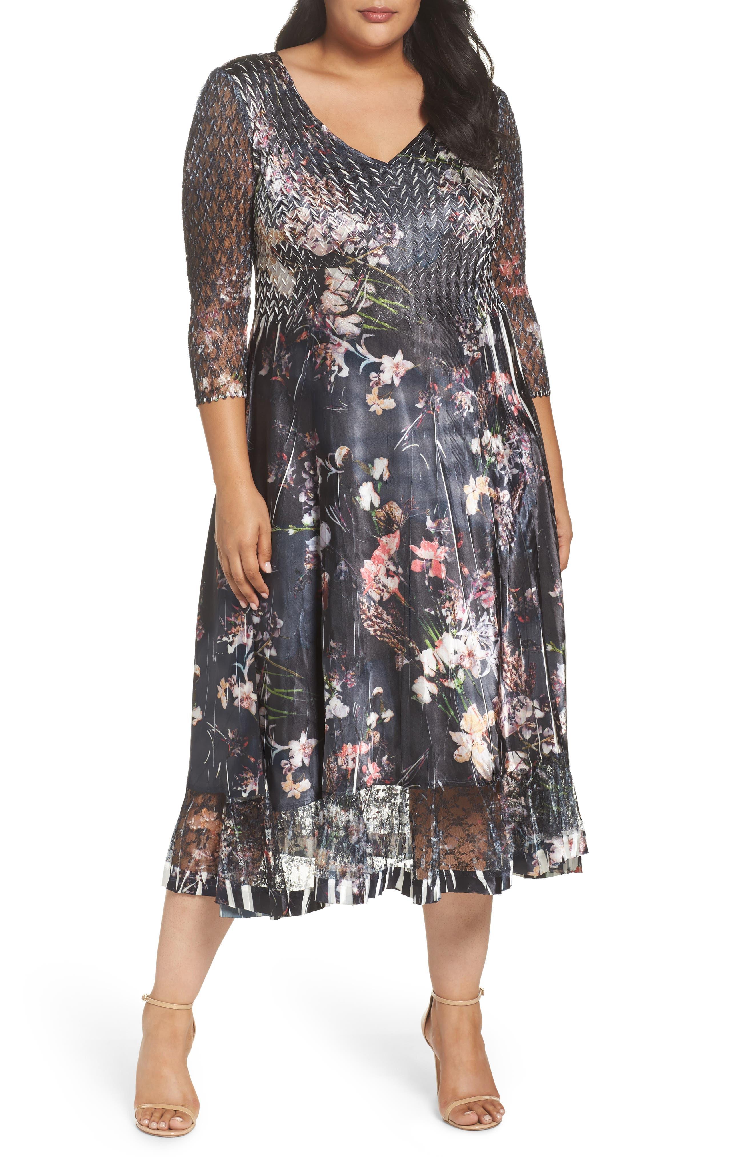 Lace Inset Floral Chiffon A-Line Dress,                         Main,                         color, Midnight Fleur
