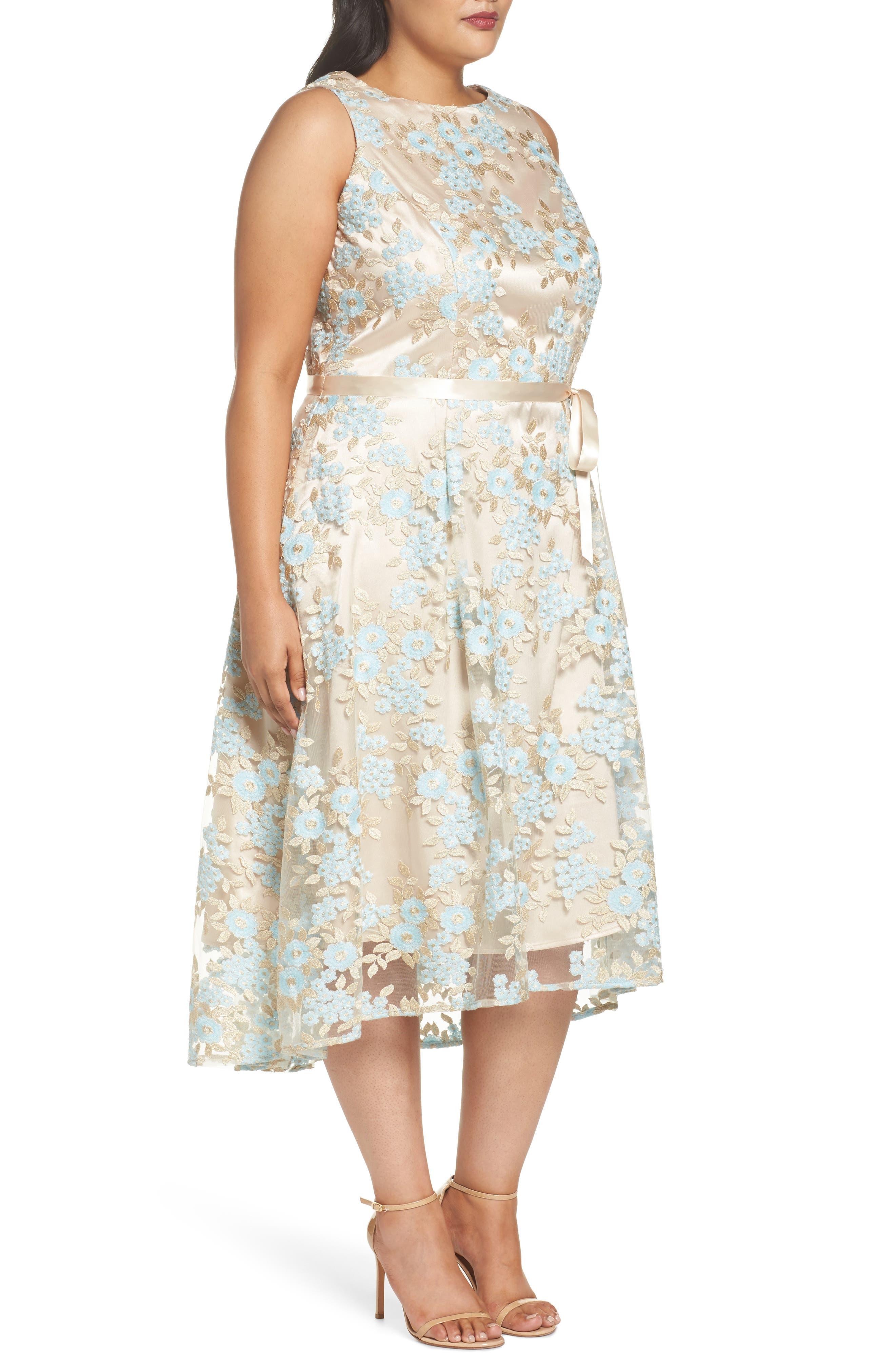 Lace Sleeveless Dress,                             Alternate thumbnail 3, color,                             Nude/ Ice Blue/ Gold