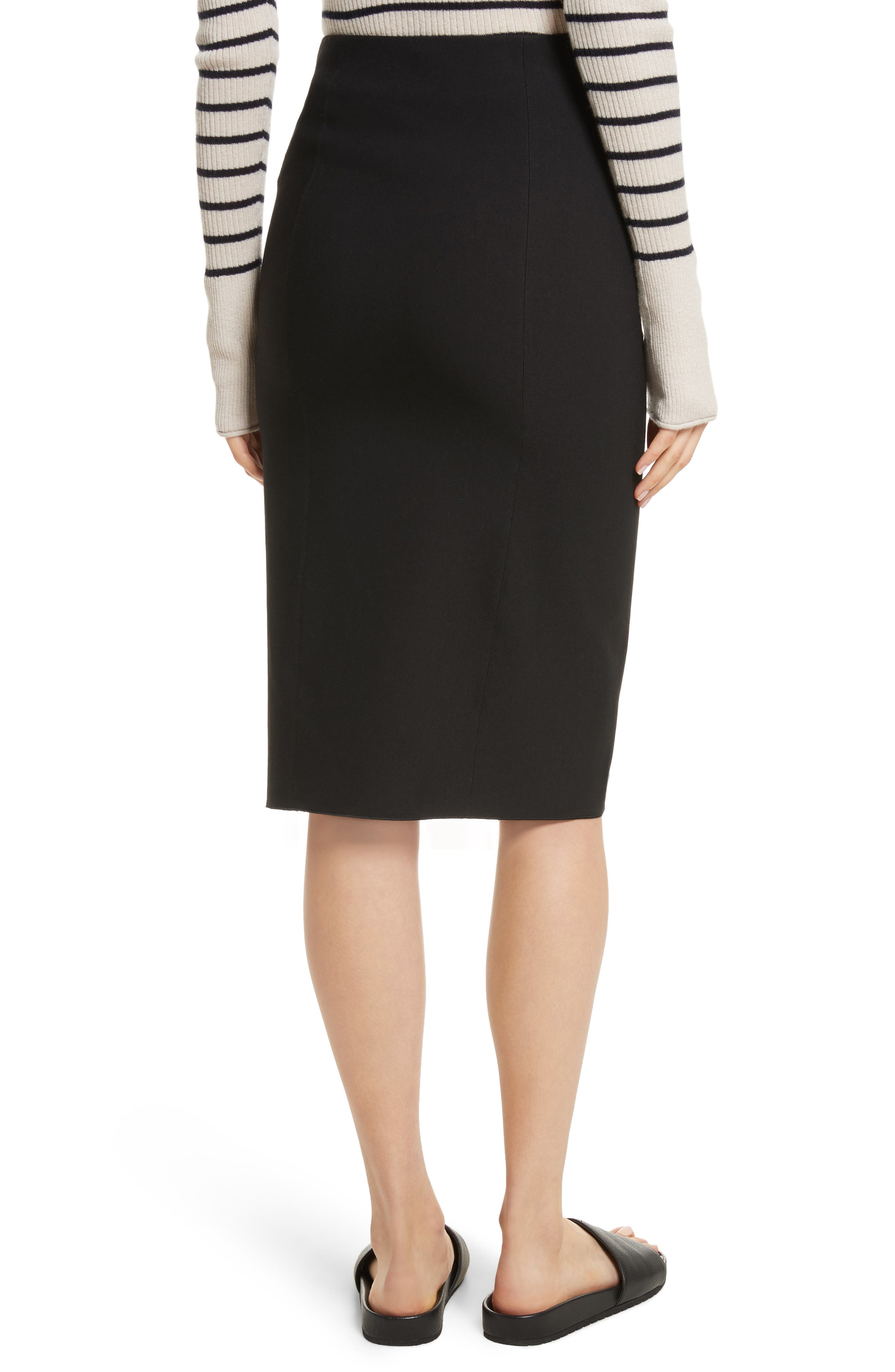 Stretch Ponte Pencil Skirt,                             Alternate thumbnail 2, color,                             Black