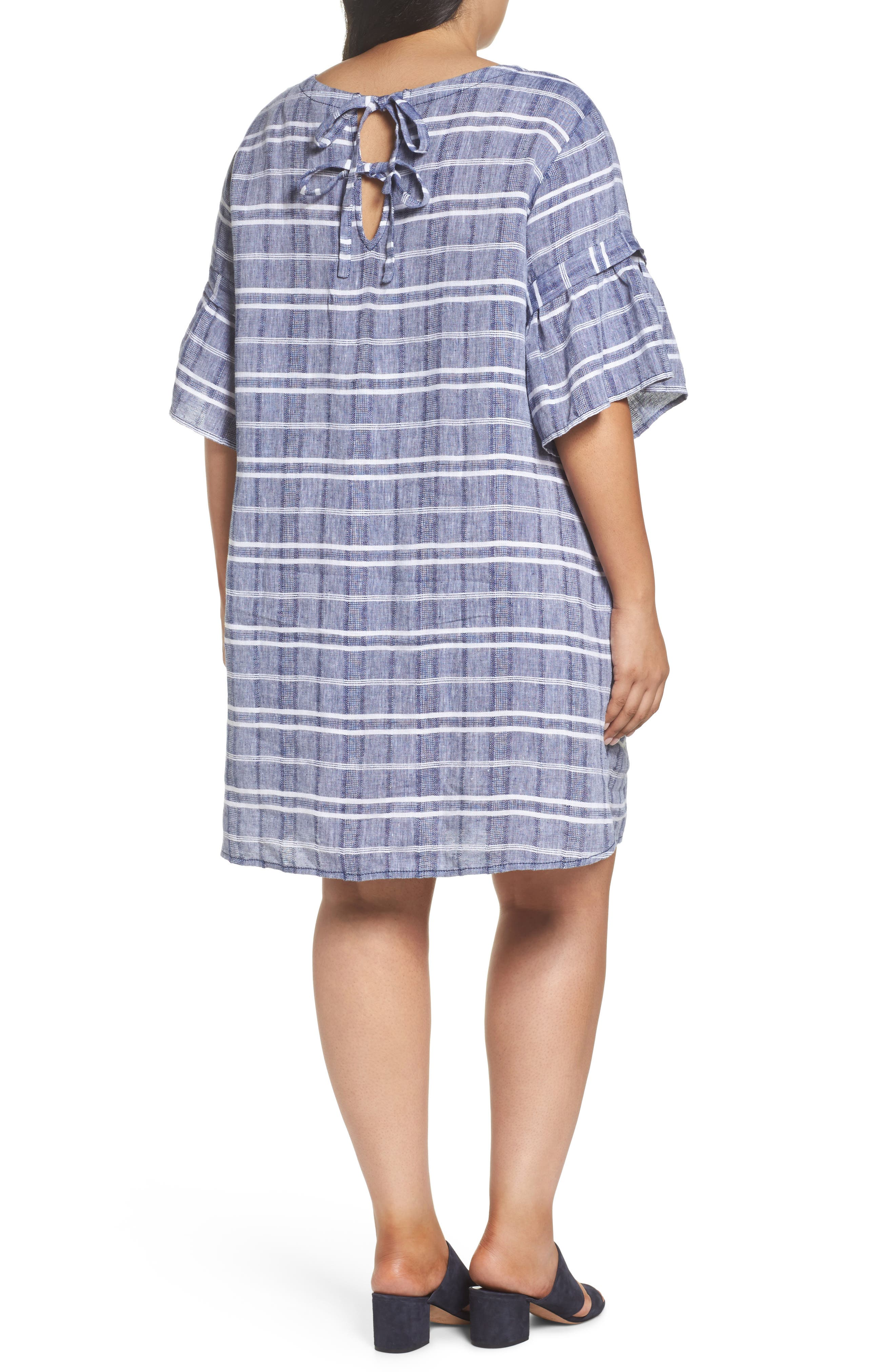 Tie Back Linen Dress,                             Alternate thumbnail 2, color,                             Navy- White Plaid