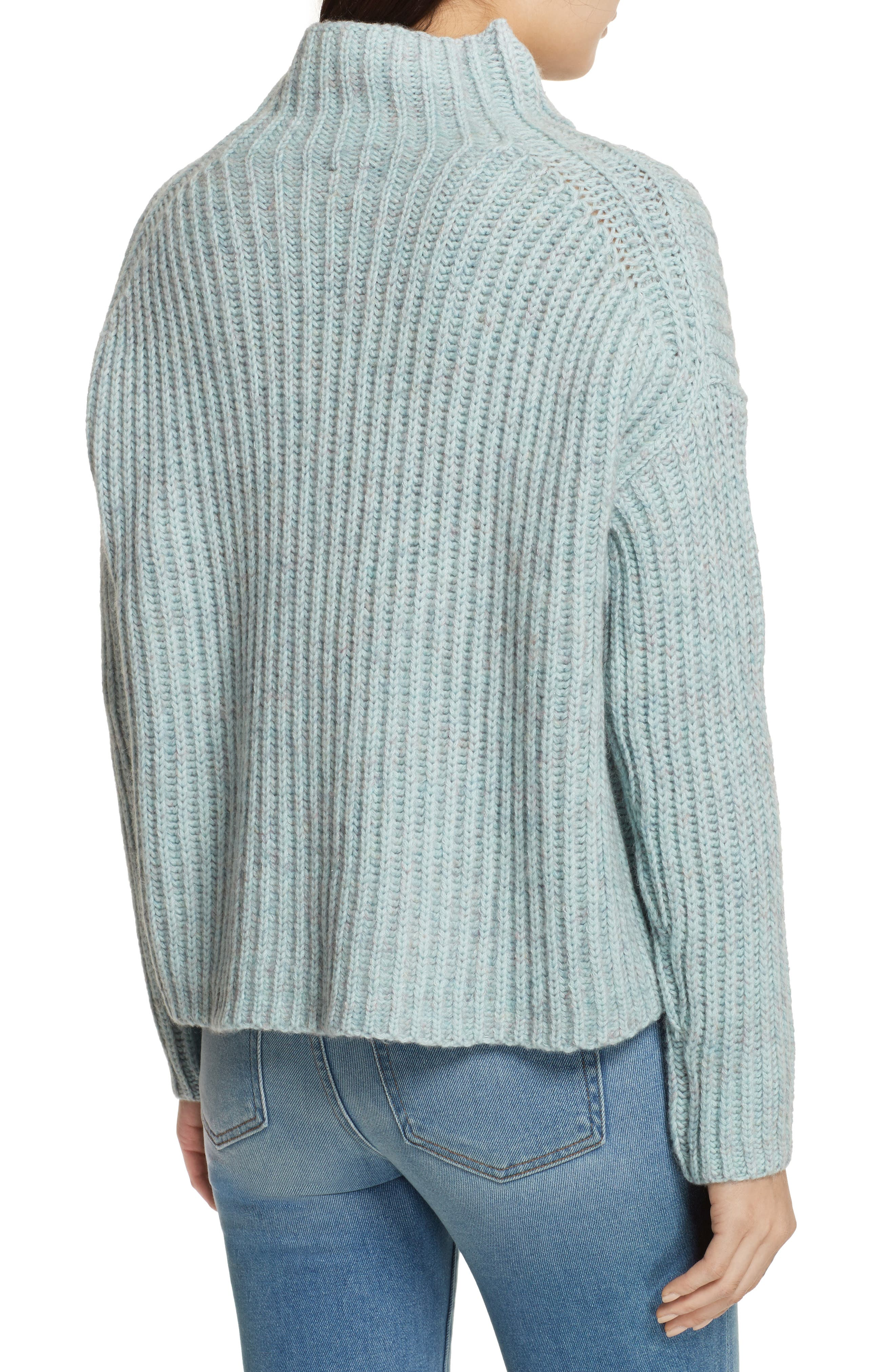 Ribbed Turtleneck Sweater,                             Alternate thumbnail 2, color,                             Tourmaline Heather