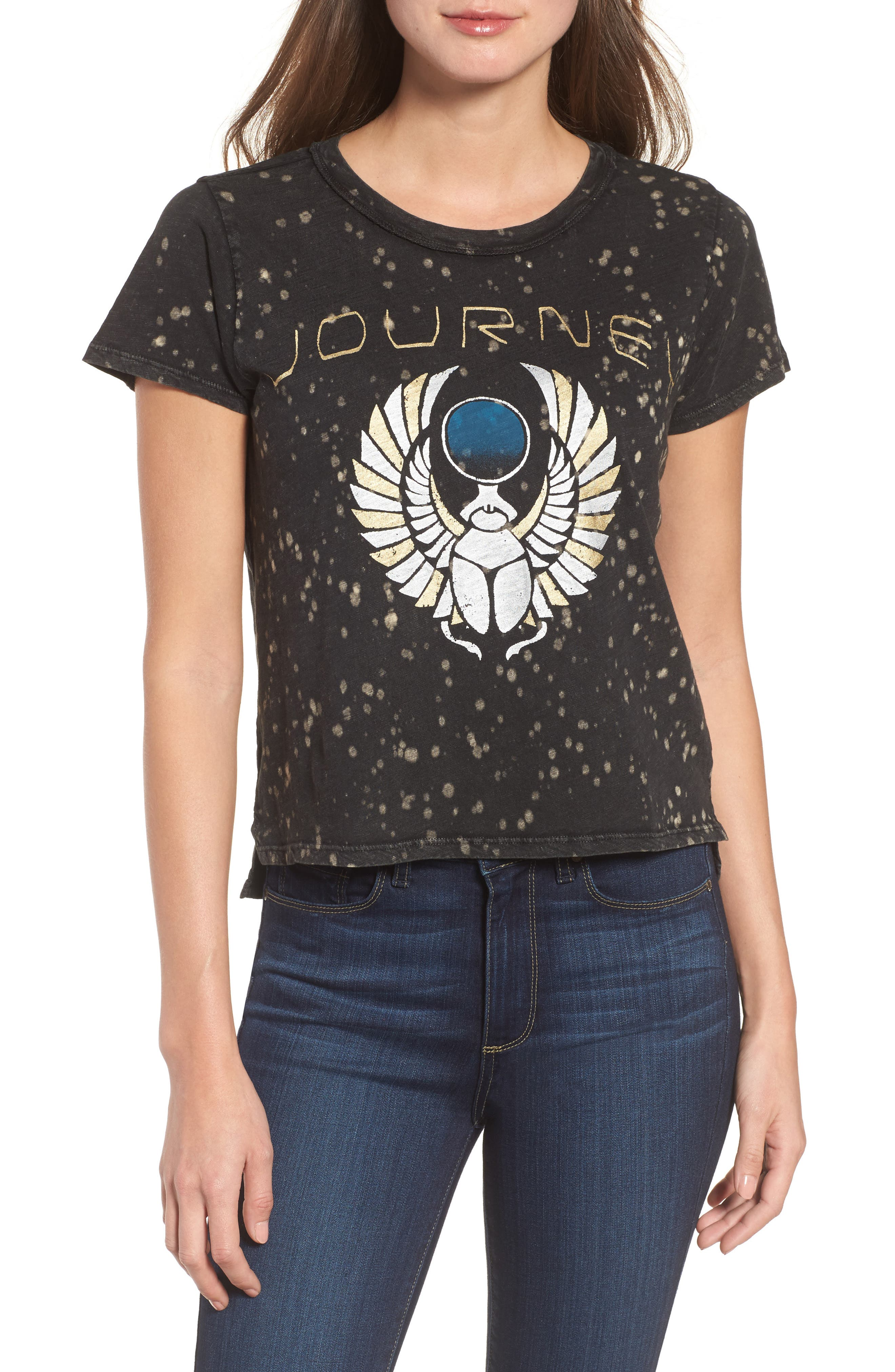 Alternate Image 1 Selected - Lucky Brand Journey Metallic Graphic Distressed Tee