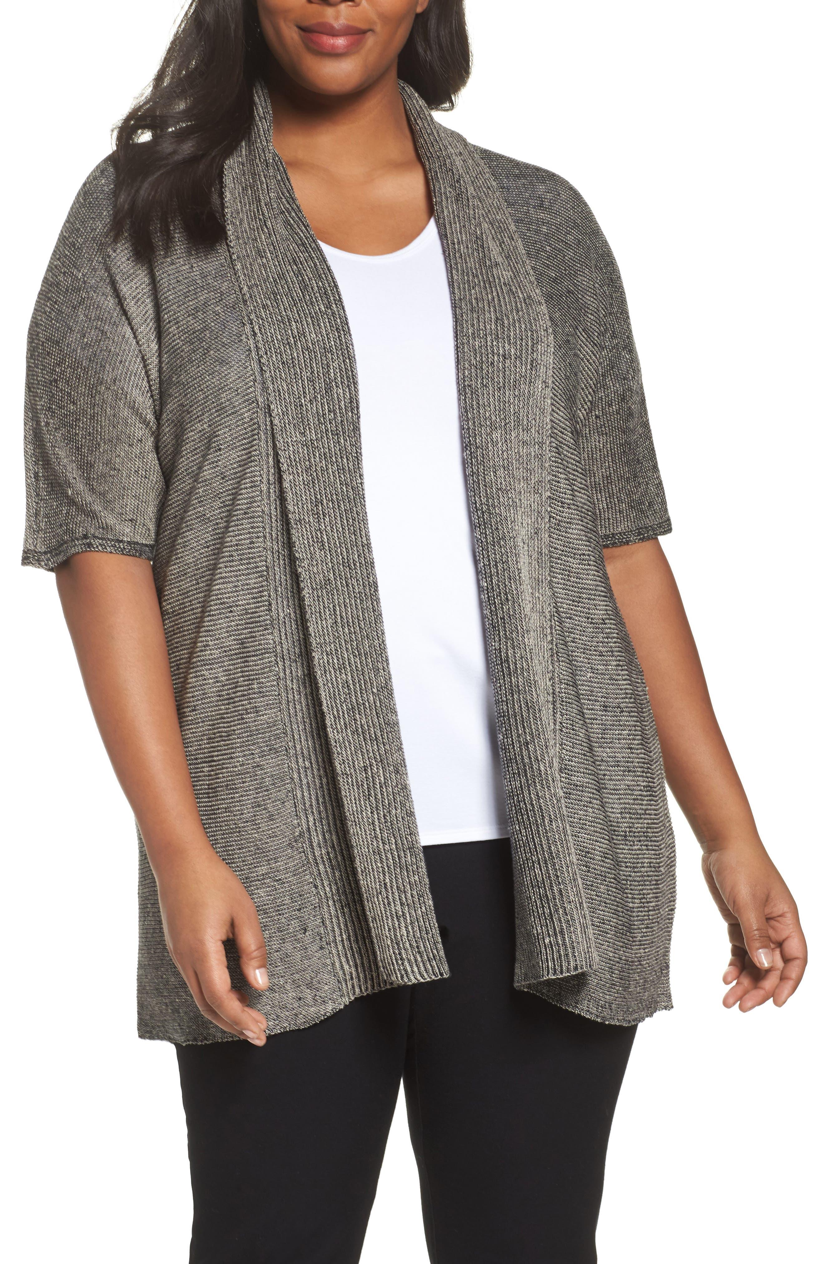 Eileen Fisher Long Organic Linen Cardigan (Plus Size)