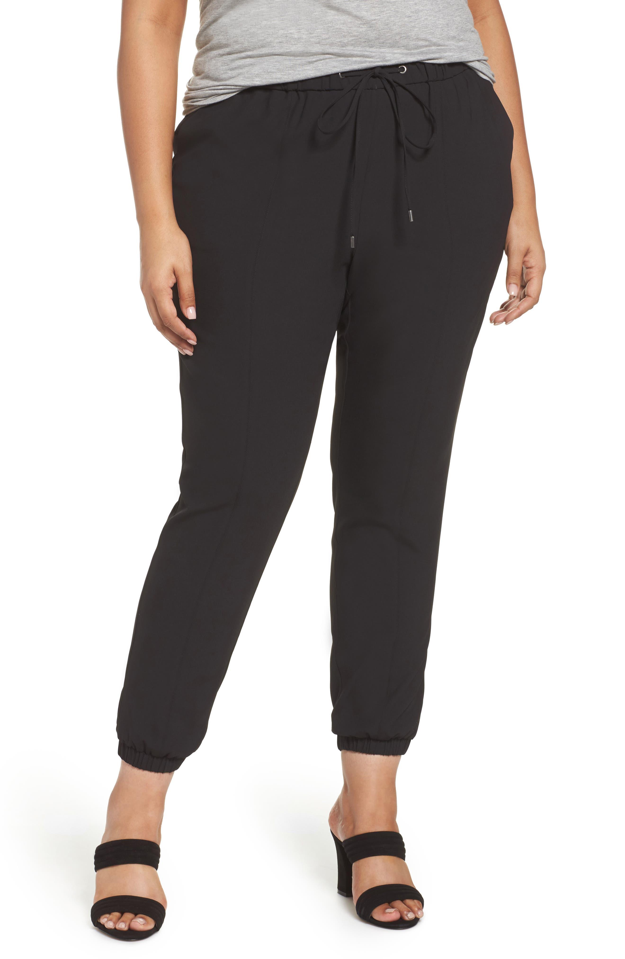 Drawstring Waist Woven Jogger Pants,                         Main,                         color, Black