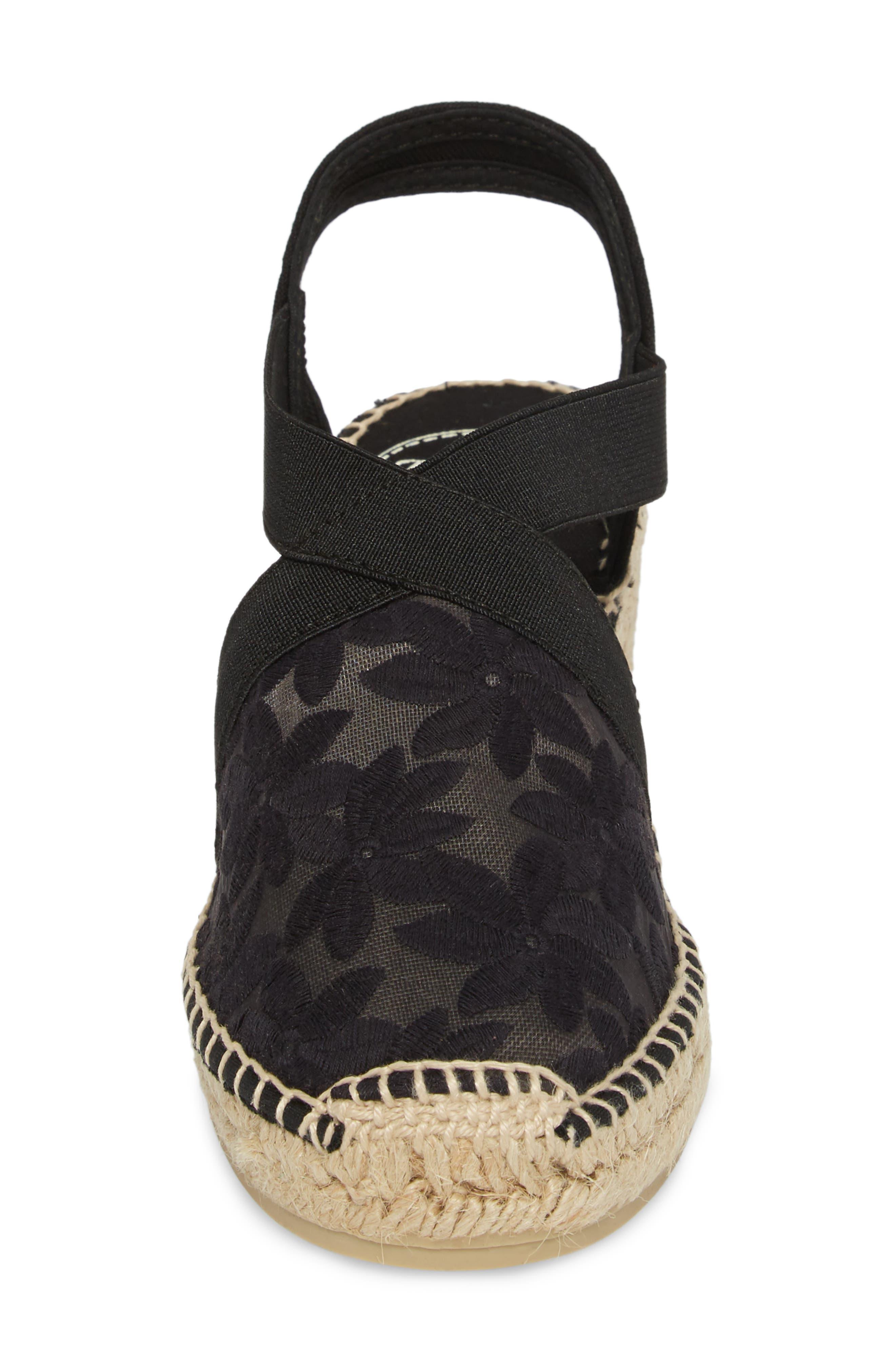 Terra Espadrille Wedge Sandal,                             Alternate thumbnail 4, color,                             Black Fabric