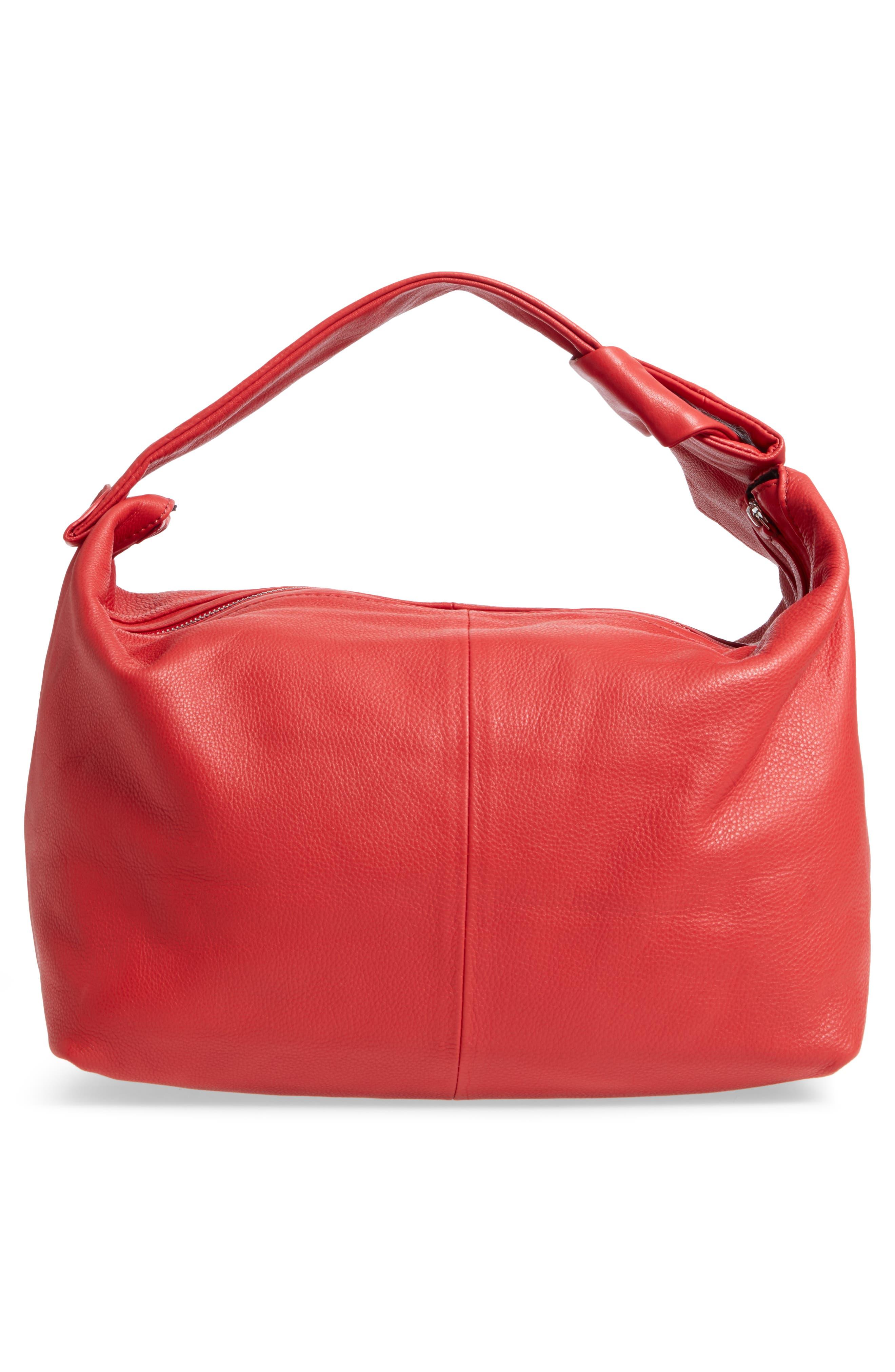 Premium Leather Jasmine Hobo Bag,                             Alternate thumbnail 3, color,                             Red