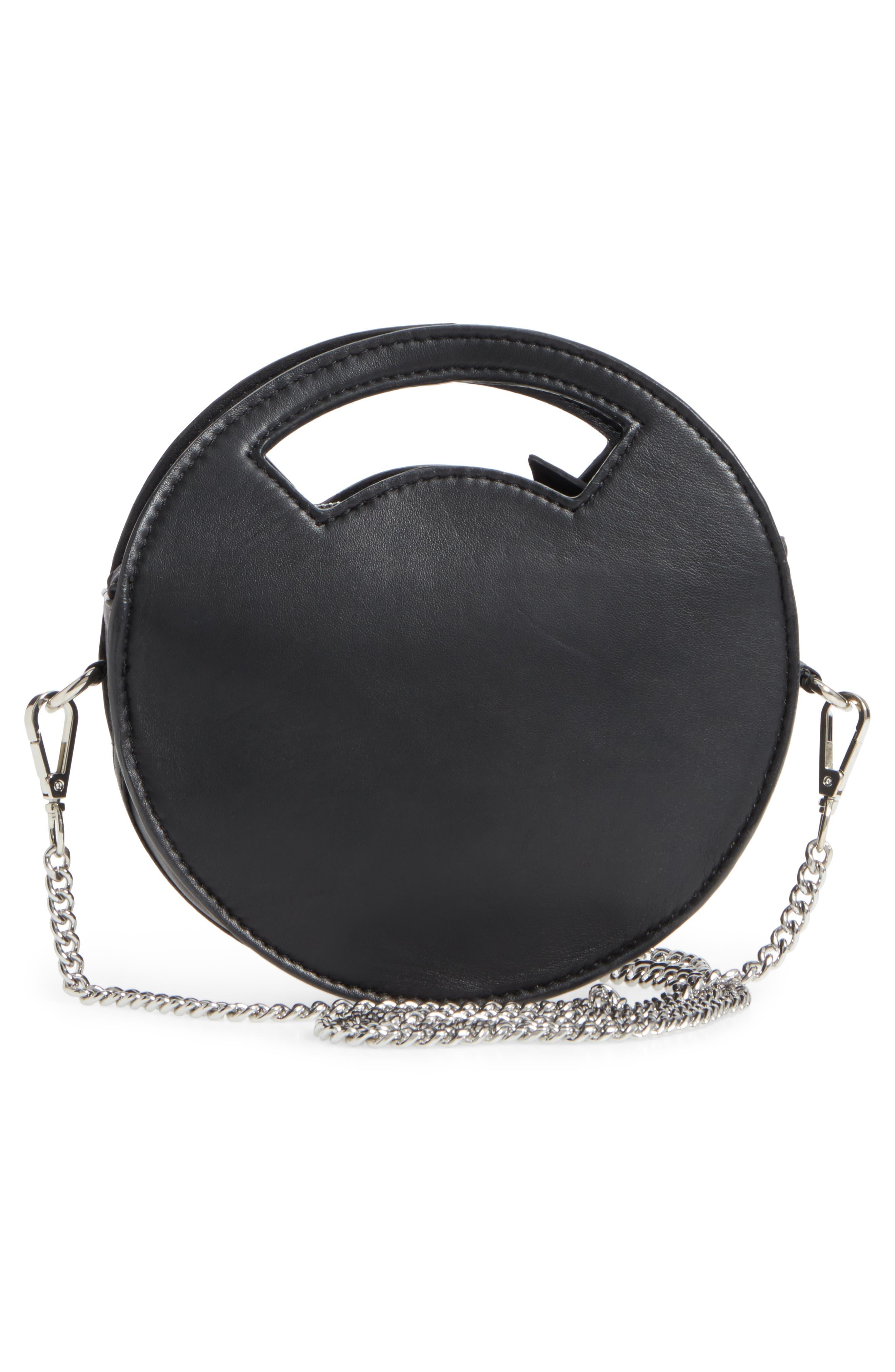 Premium Leather Mini Circle Crossbody Bag,                             Alternate thumbnail 3, color,                             Black