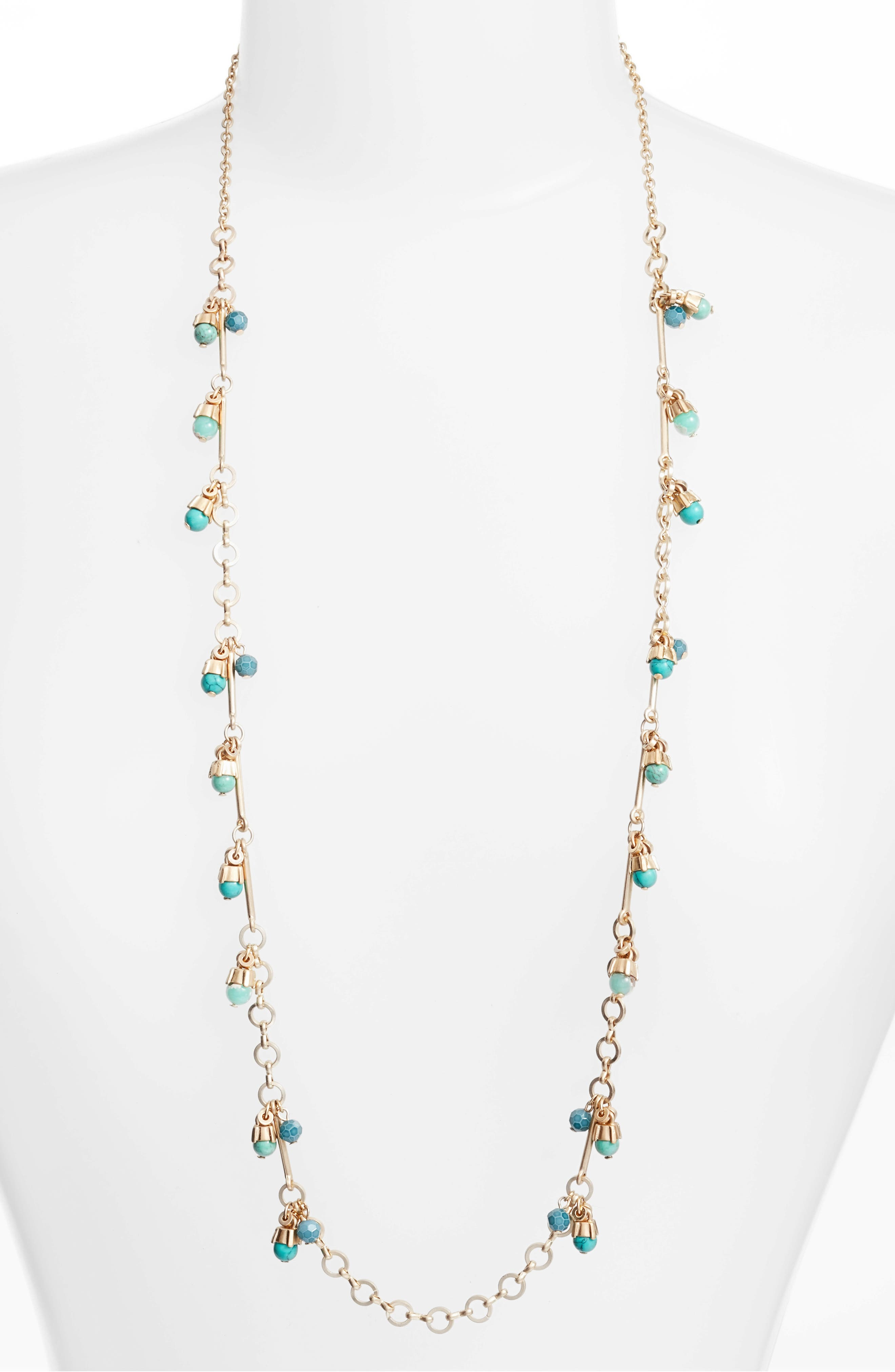 Stone Drop Station Necklace,                         Main,                         color, Turquoise- Gold