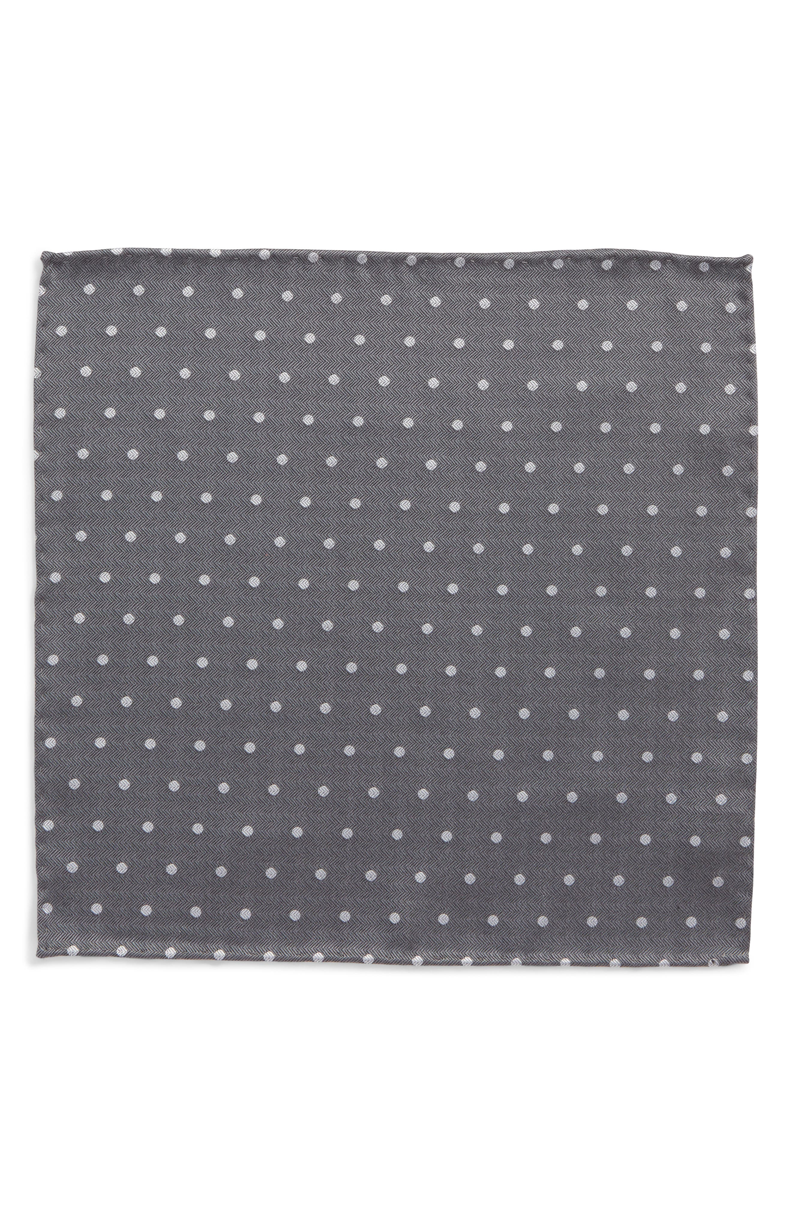 Dotted Hitch Silk & Wool Pocket Square,                             Alternate thumbnail 2, color,                             Grey