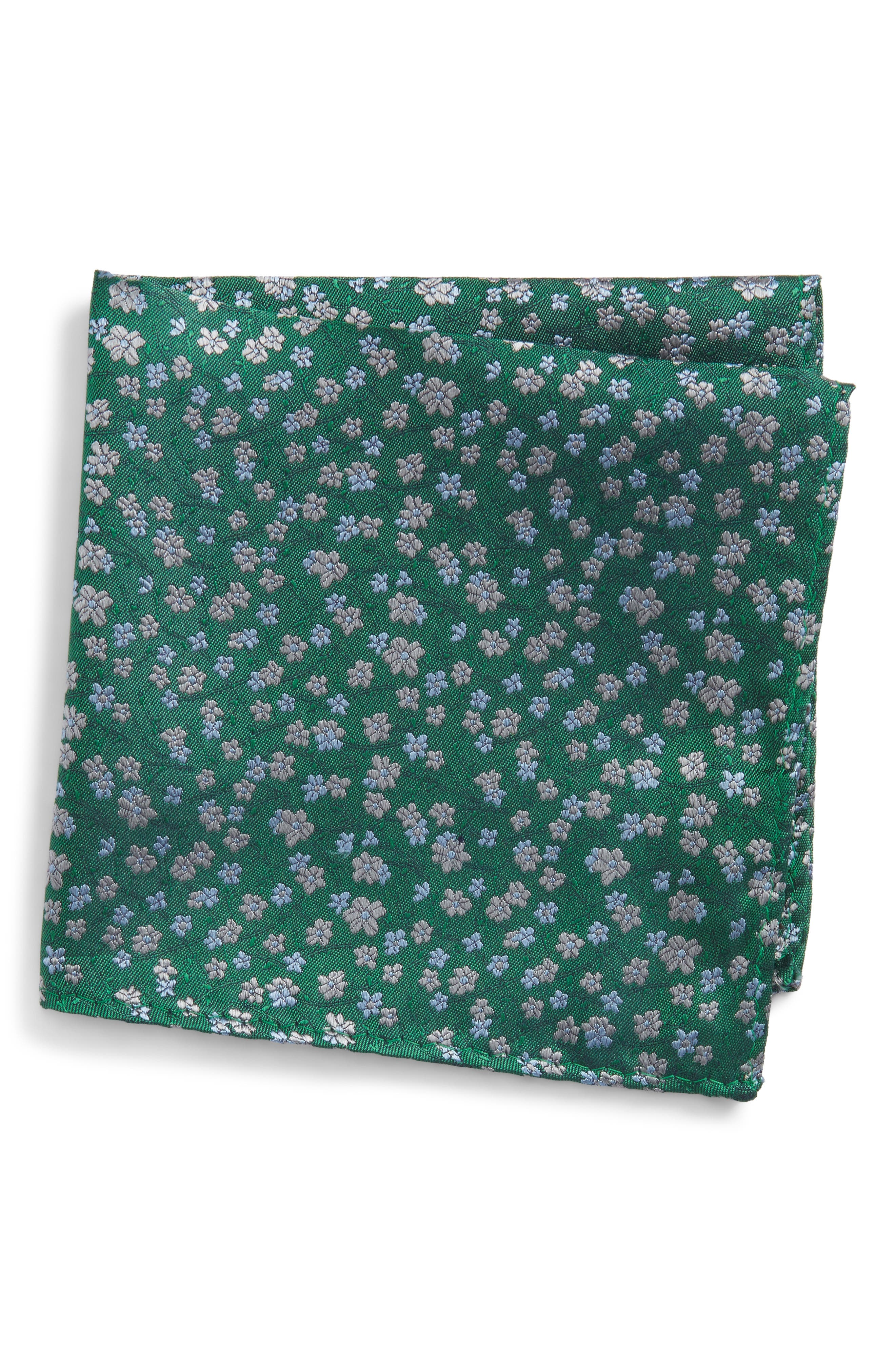 Free Fall Floral Silk Pocket Square,                         Main,                         color, Kelly Green