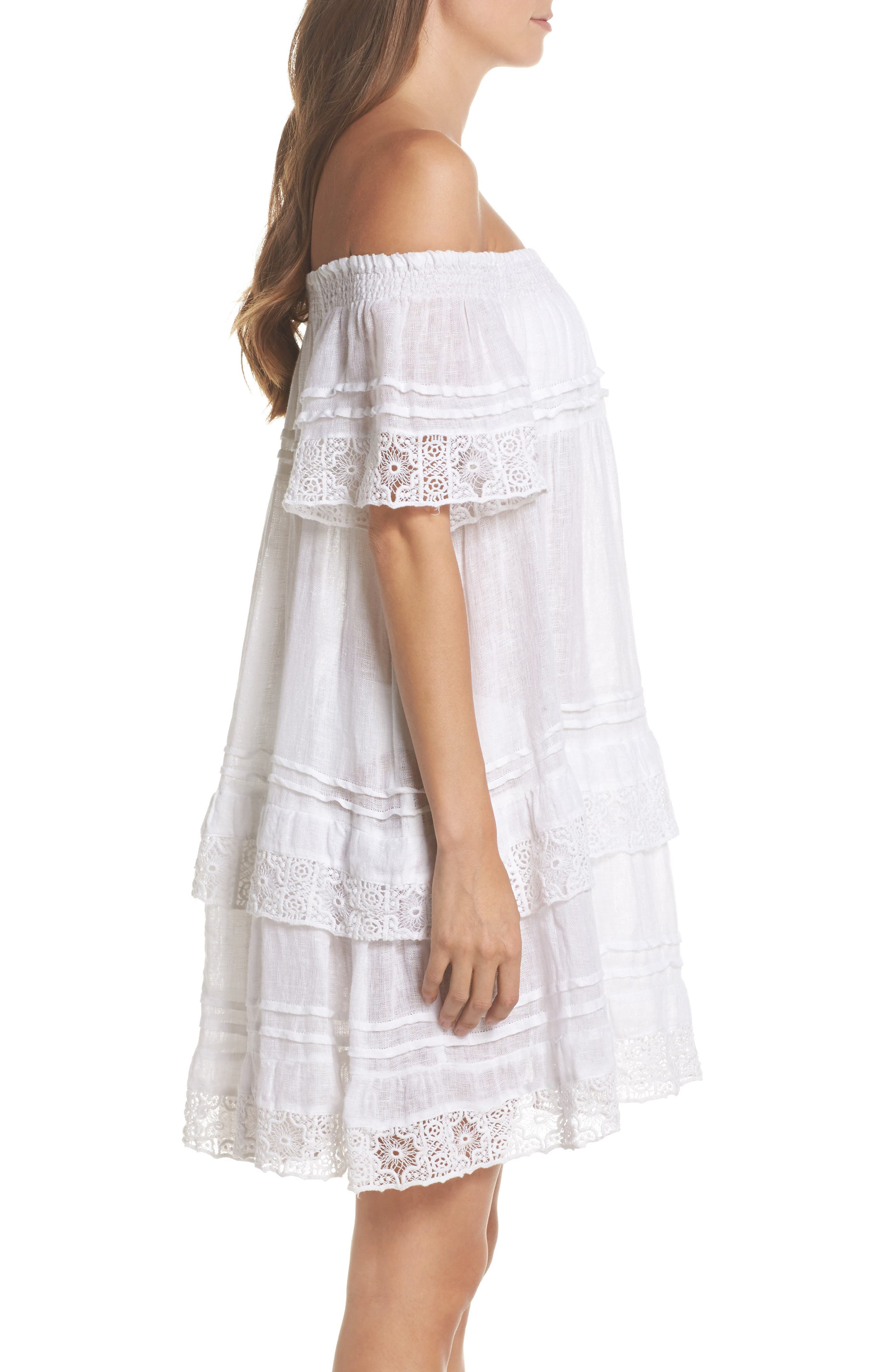 Esmerelda Cover-Up Dress,                             Alternate thumbnail 3, color,                             White