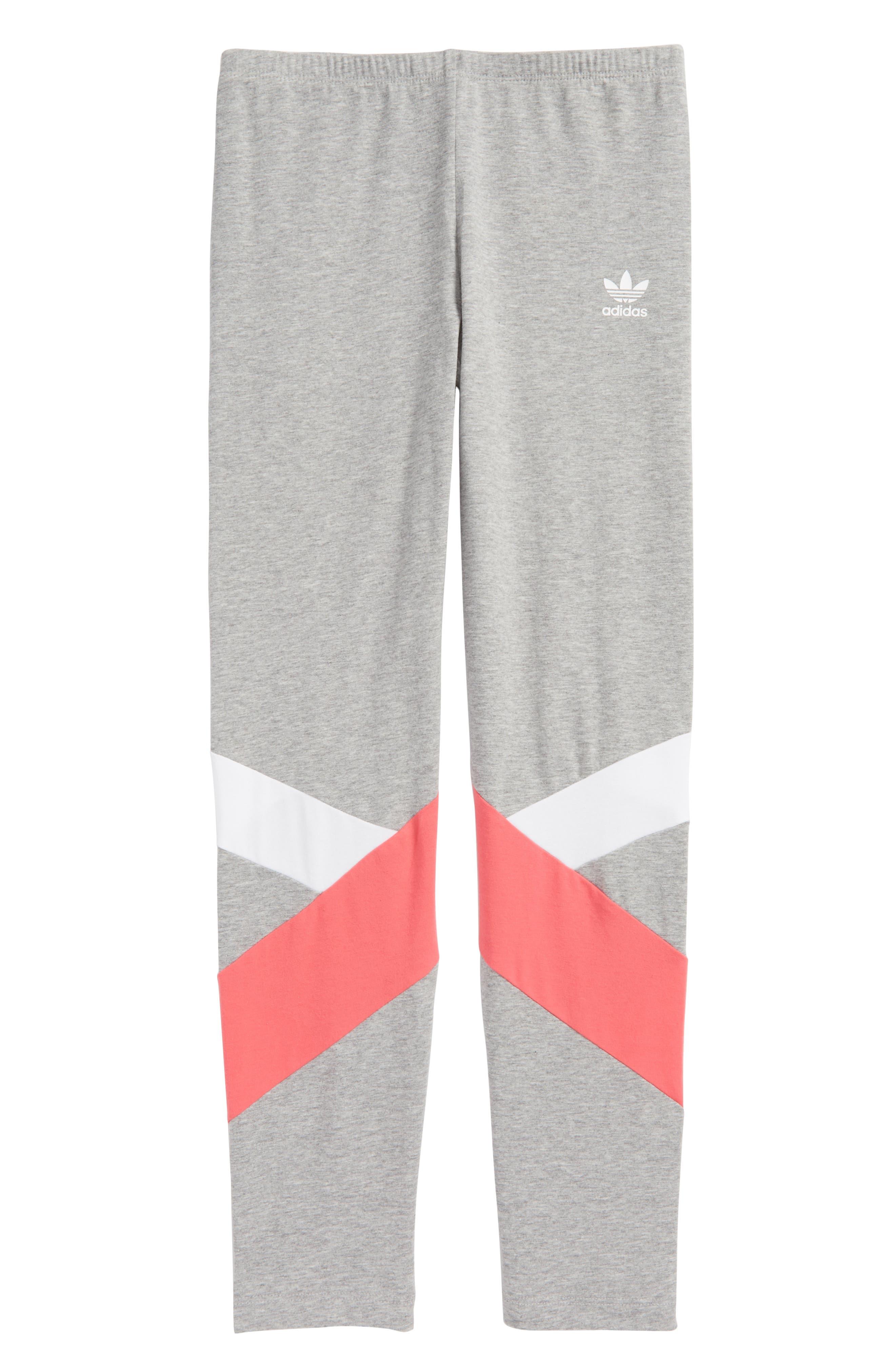adidas J Leggings,                         Main,                         color, Grey/ White/ Pink