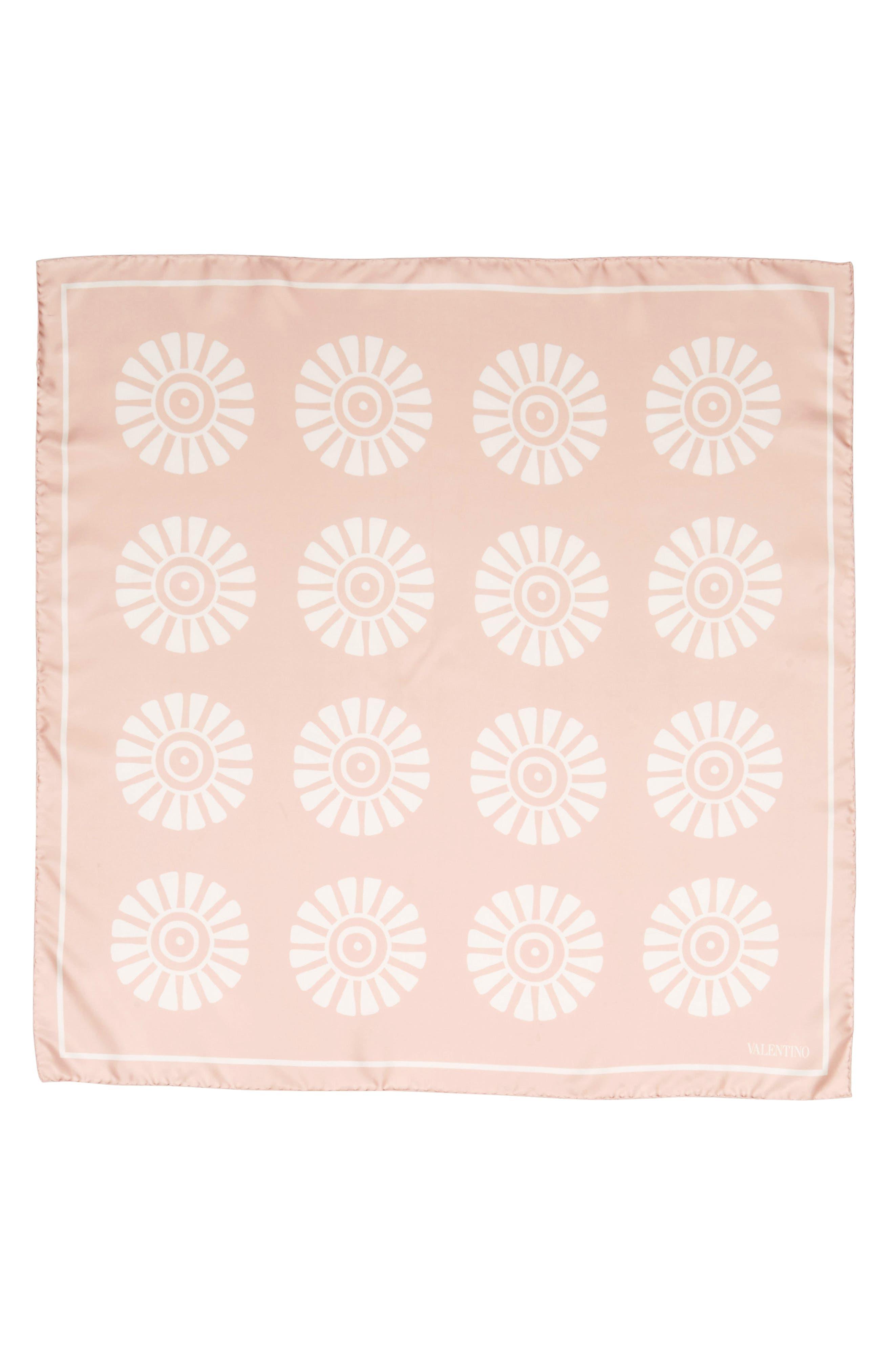GARAVANI Medallion Print Square Silk Scarf,                         Main,                         color, 0Lz Rose Mist