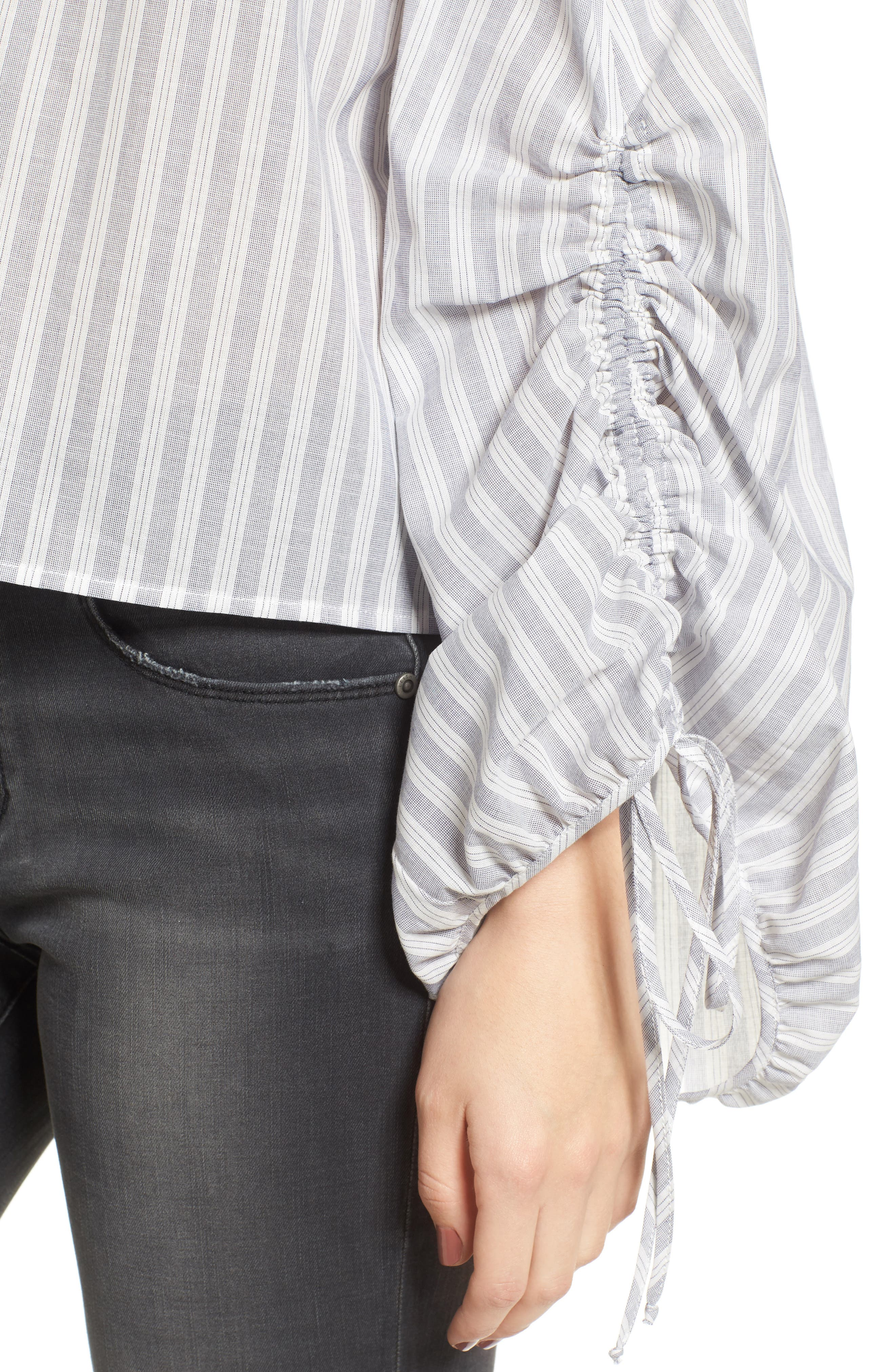 Cinched Balloon Sleeve Top,                             Alternate thumbnail 4, color,                             Grey/ White Stripe