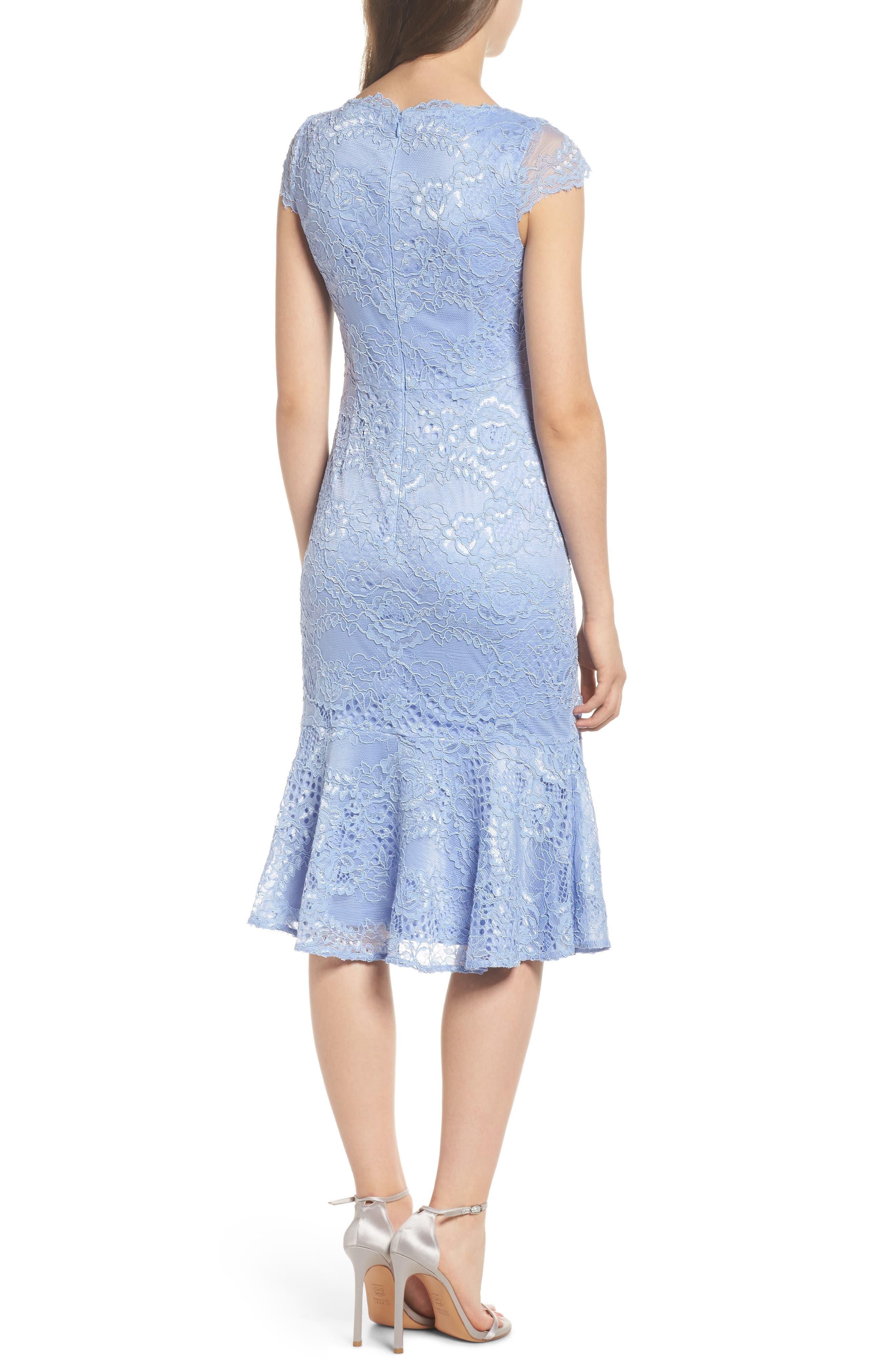 Flounce Hem Lace Dress,                             Alternate thumbnail 2, color,                             Blue Lavender