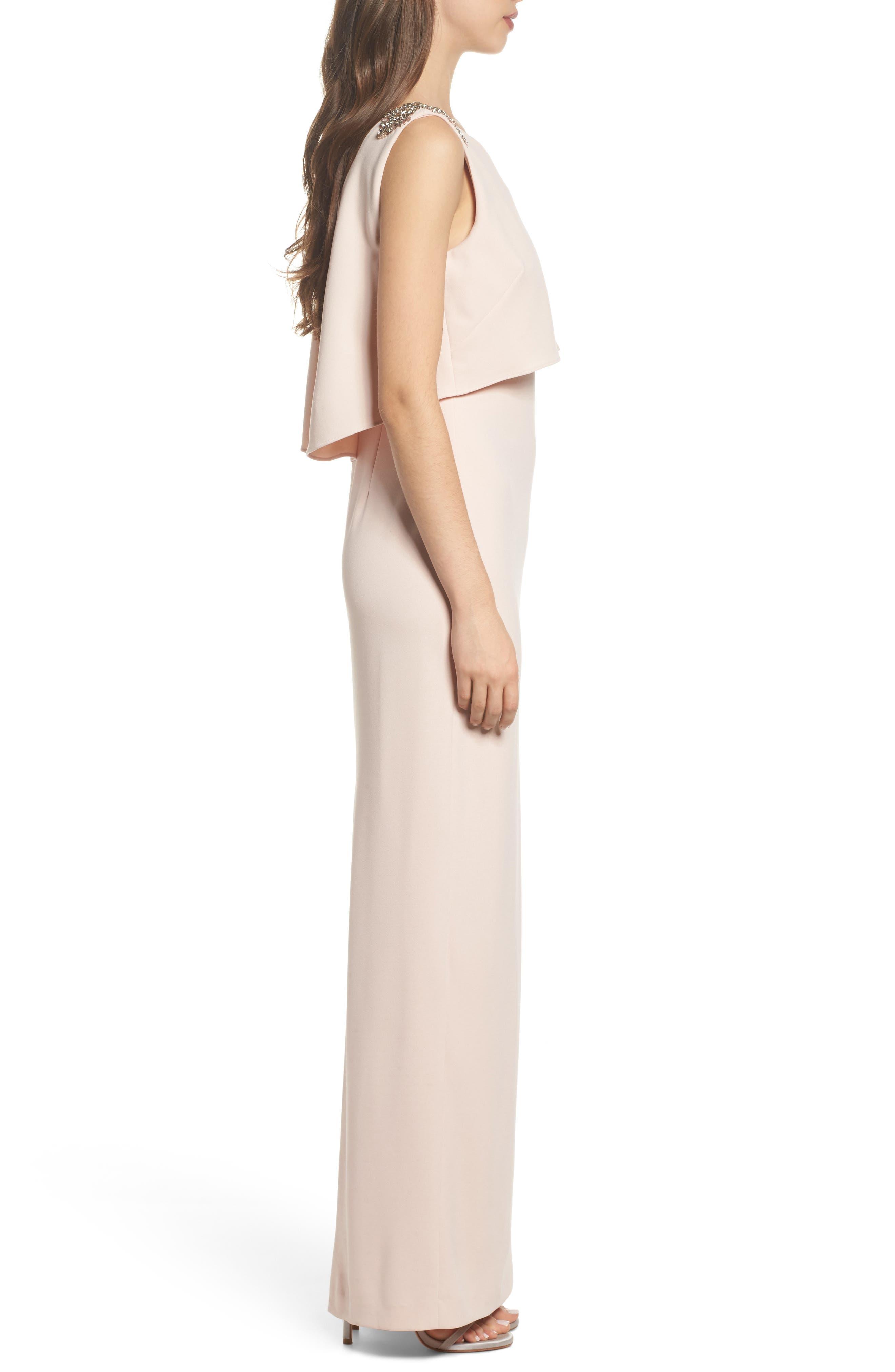 Embellished Crepe Popover Gown,                             Alternate thumbnail 3, color,                             Light Blush