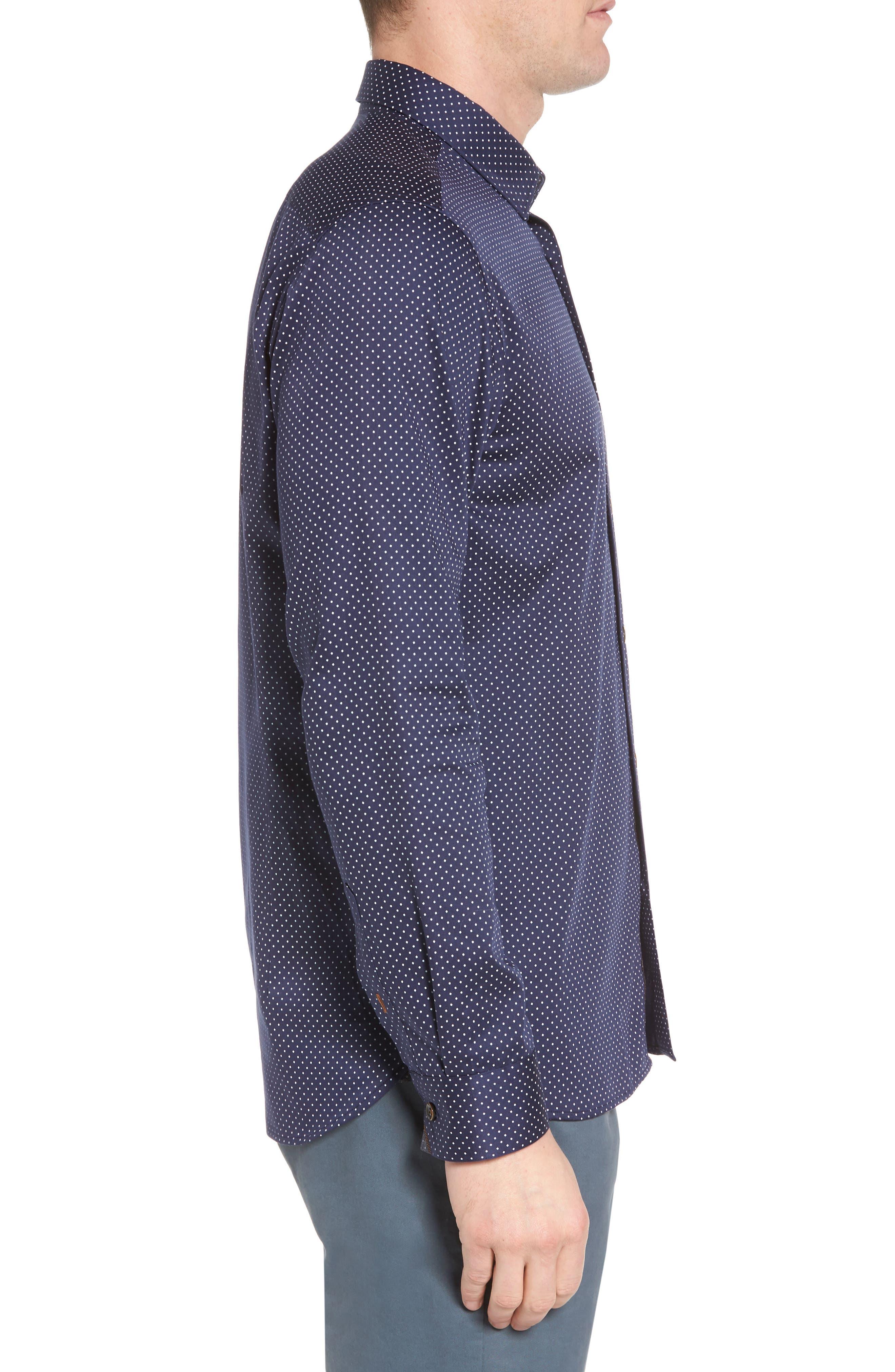 Skwere Trim Fit Sport Shirt,                             Alternate thumbnail 4, color,                             Navy